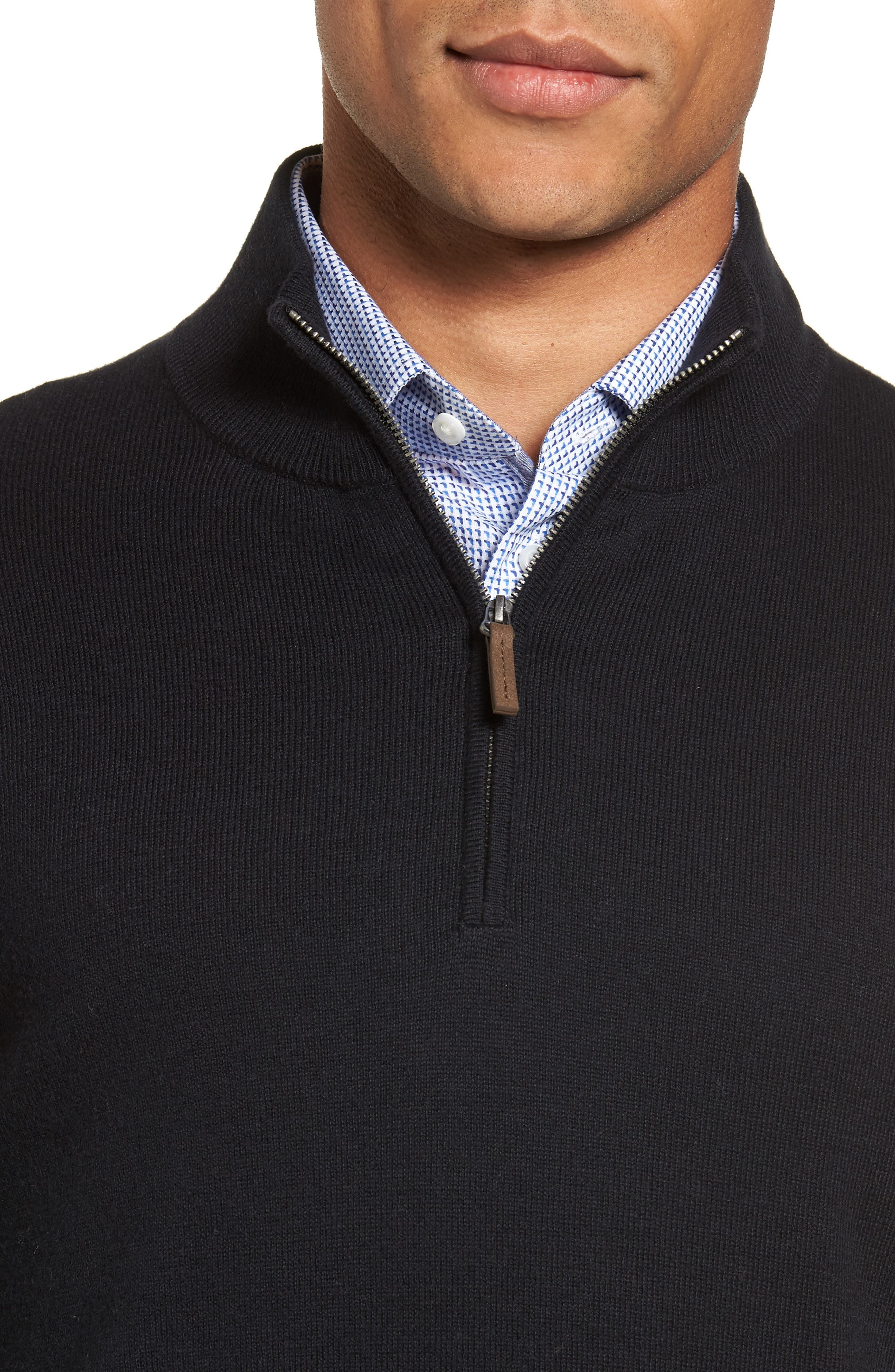 Half Zip Cotton & Cashmere Pullover,                             Alternate thumbnail 4, color,                             Black Caviar