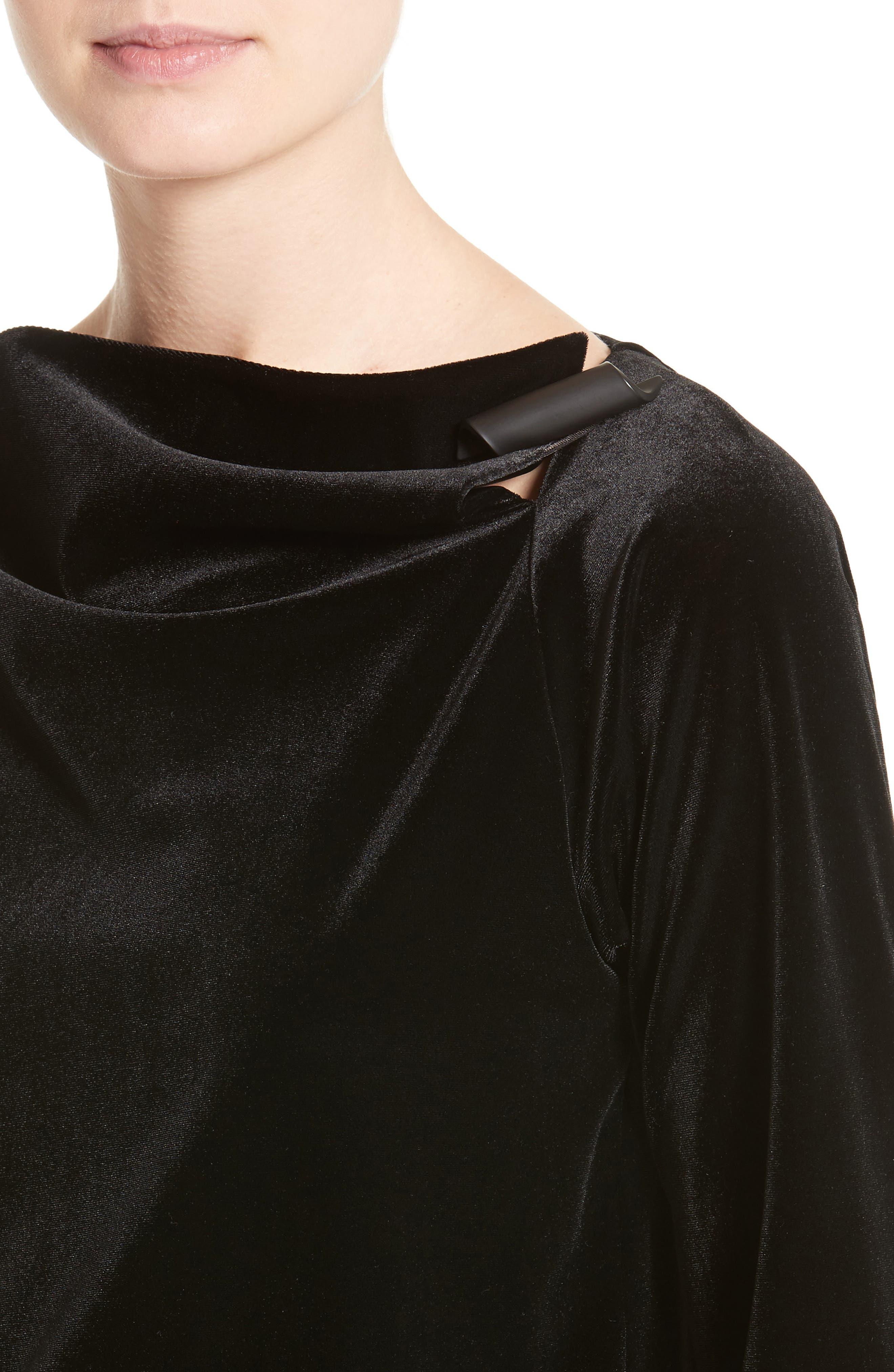 Alternate Image 6  - Armani Collezioni Satin Trim Stretch Velvet Top