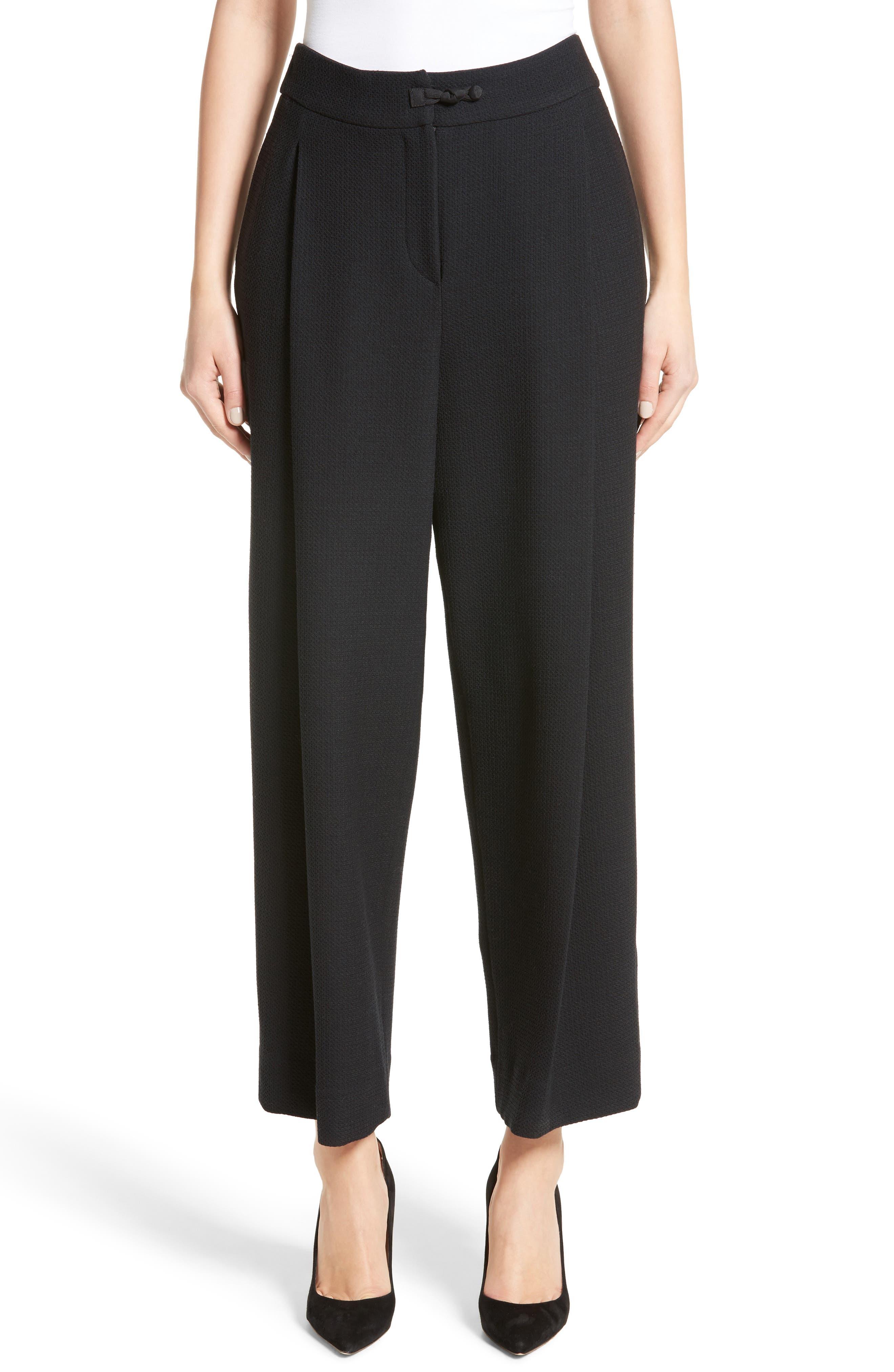 Stretch Wool Wide Leg Pants,                         Main,                         color, Black