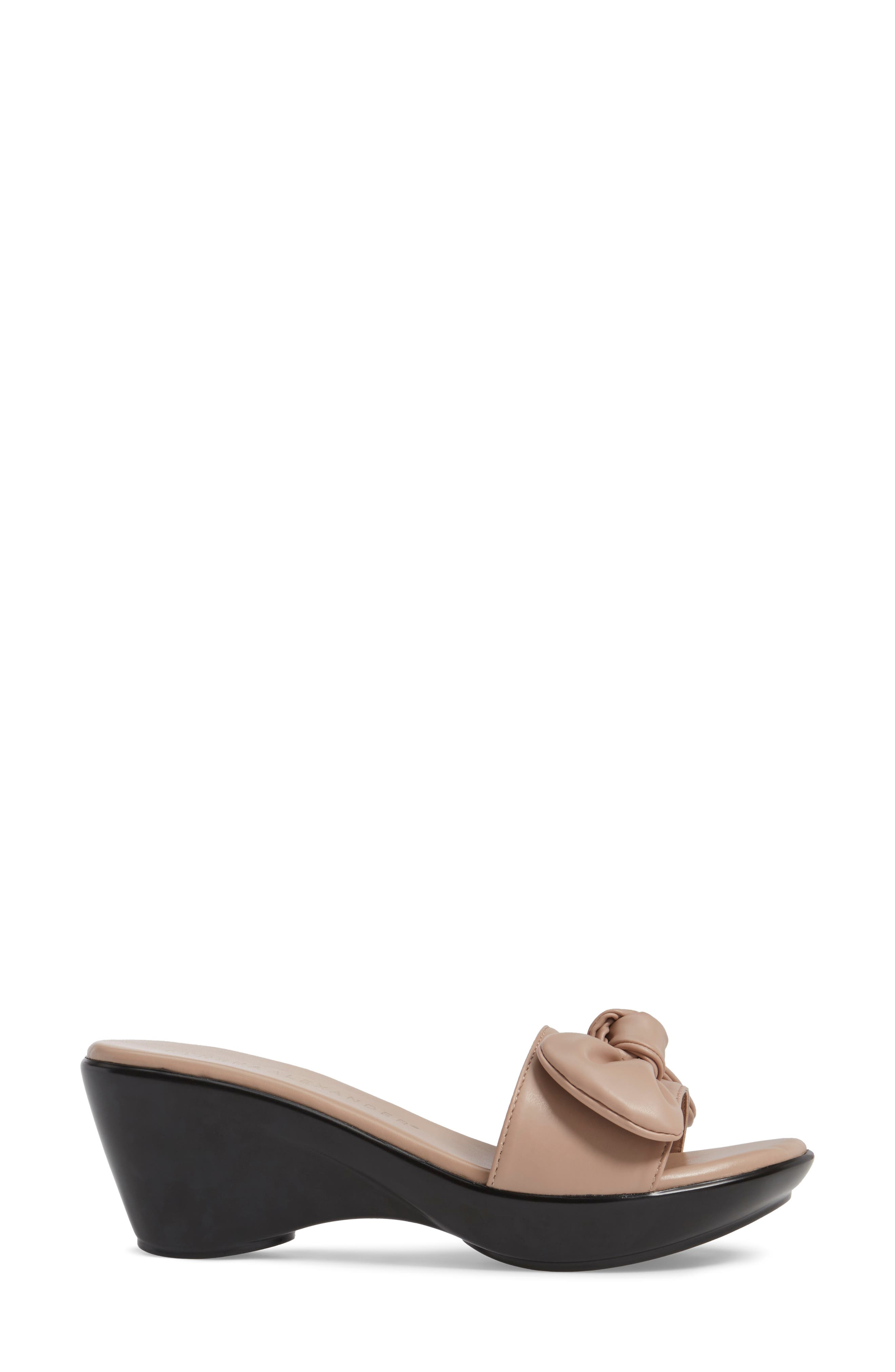 Pattye Knotted Slide Sandal,                             Alternate thumbnail 3, color,                             Blush Faux Leather