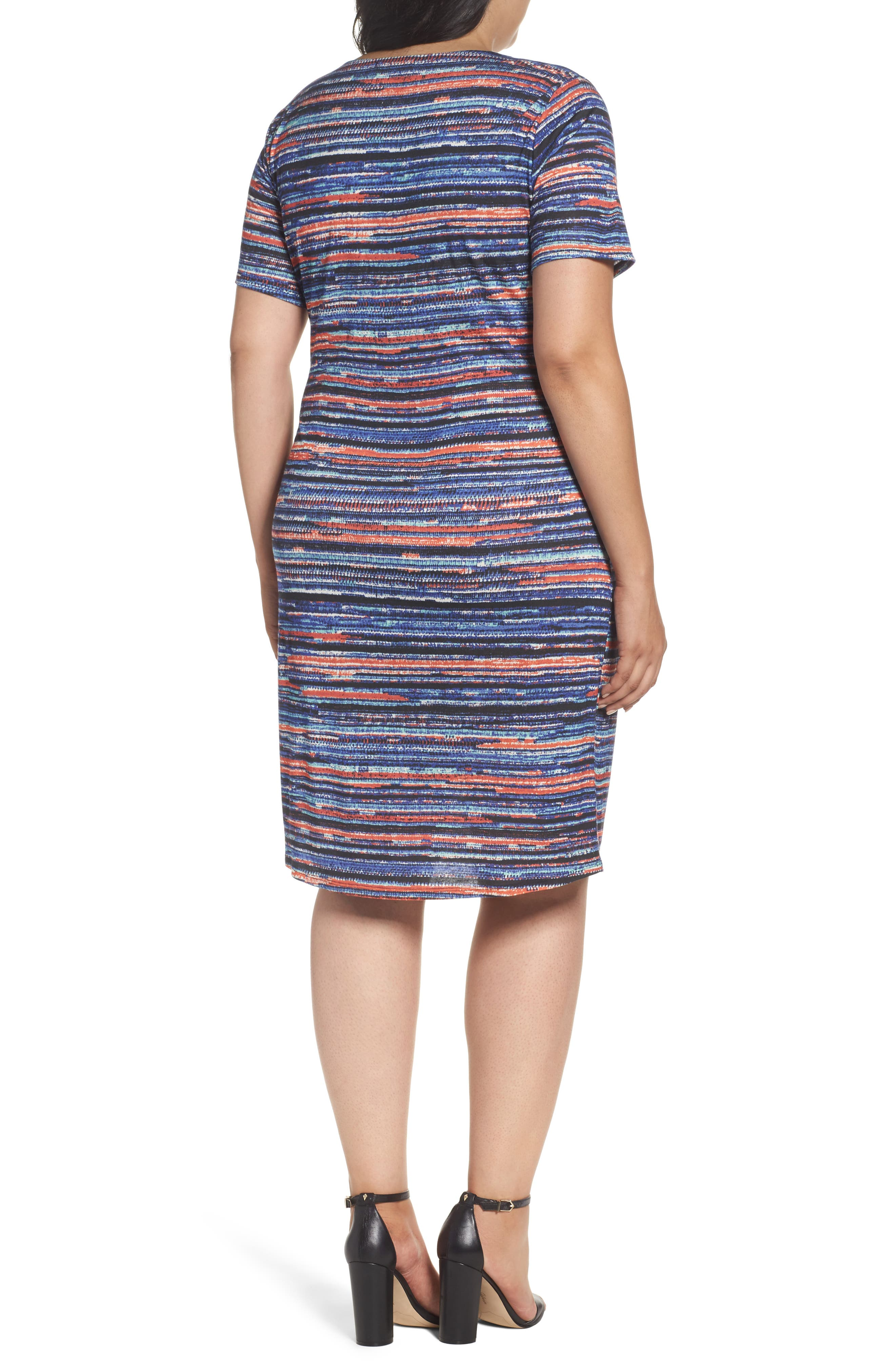 Alternate Image 2  - Three Dots Painterly Stripe Sheath Dress (Plus Size)