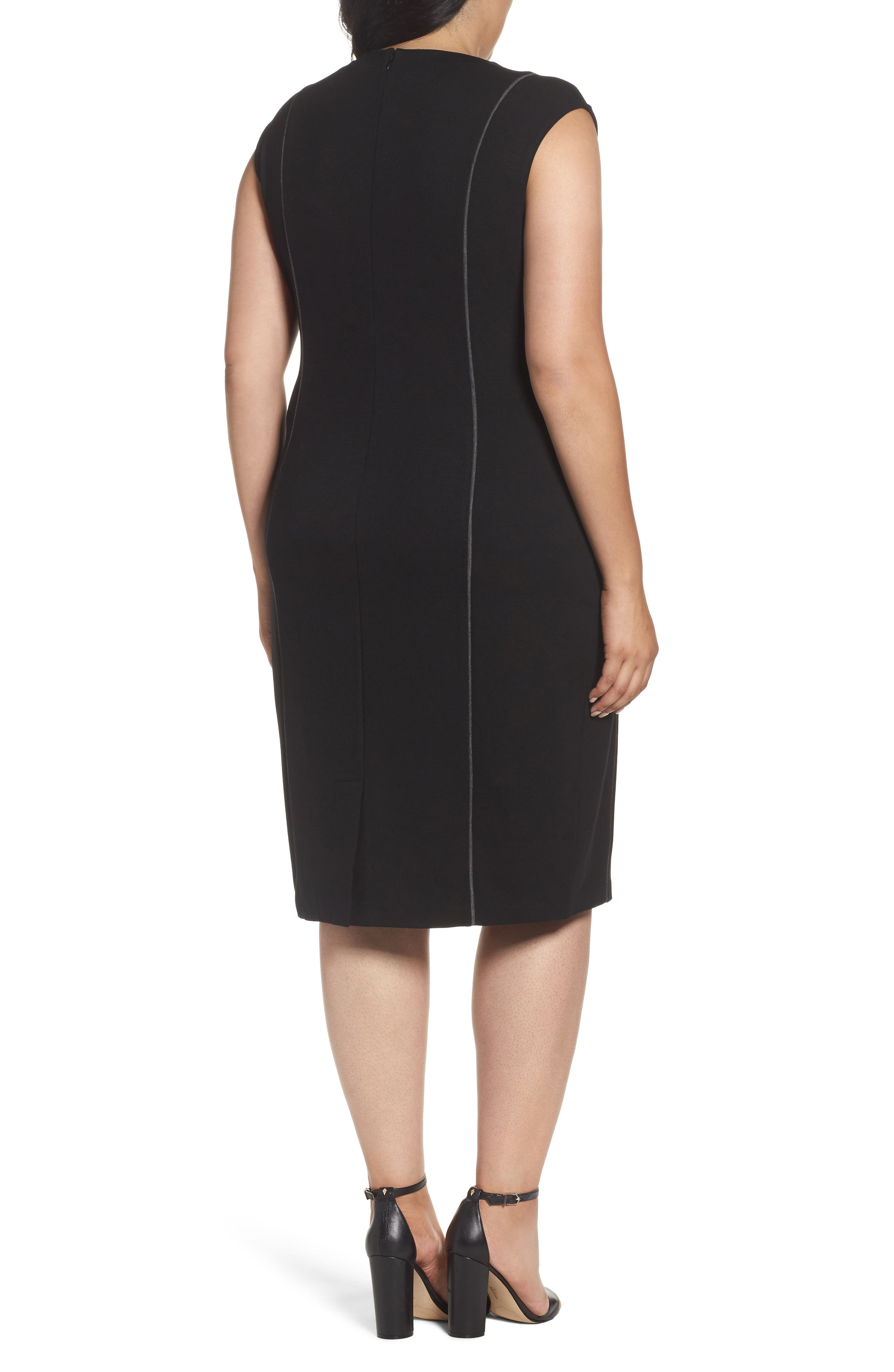 Alternate Image 2  - Sejour Contrast Seam Ponte Sheath Dress (Plus Size)