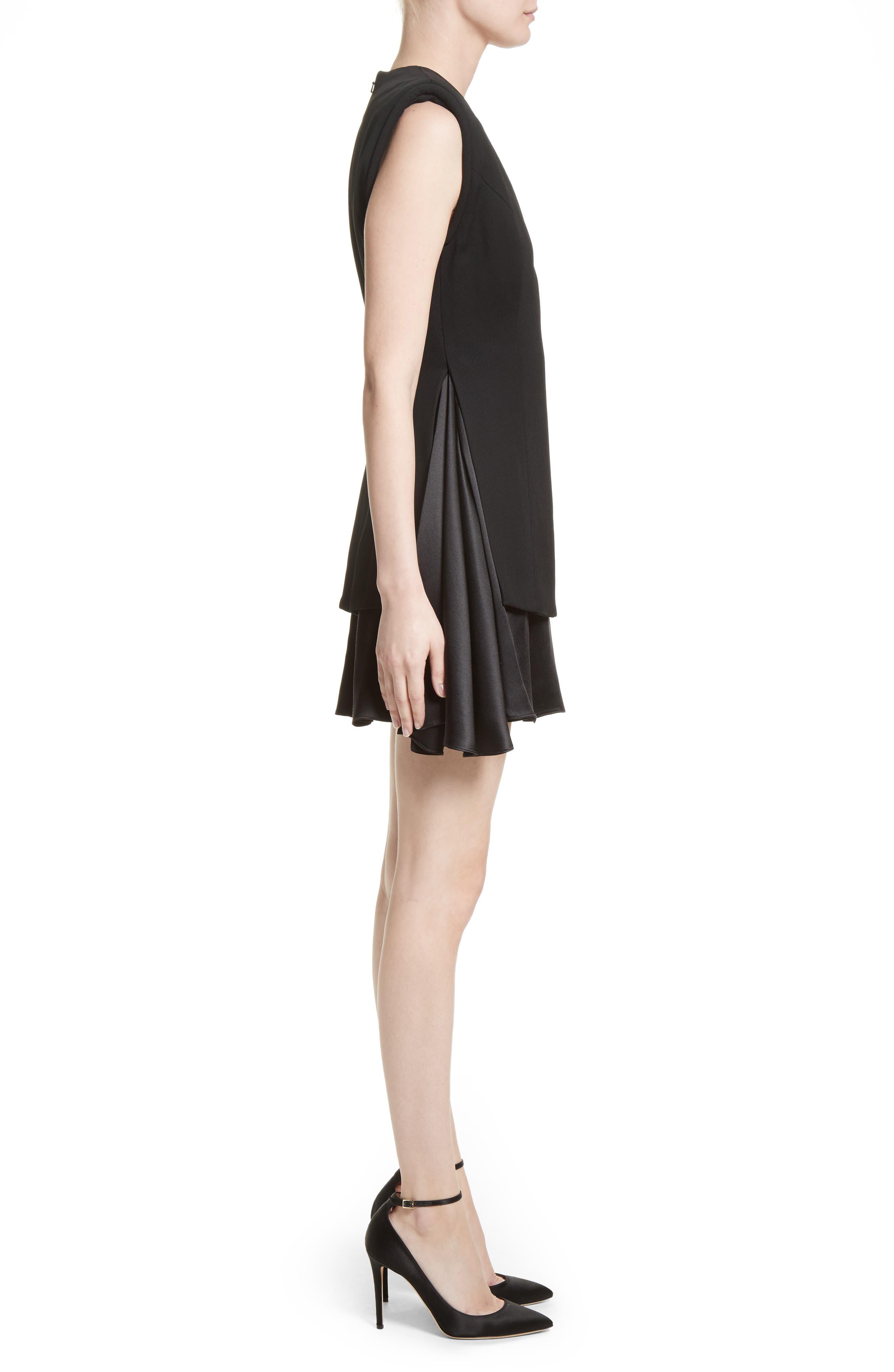 Mixed Media V-Neck Dress,                             Alternate thumbnail 6, color,                             Black
