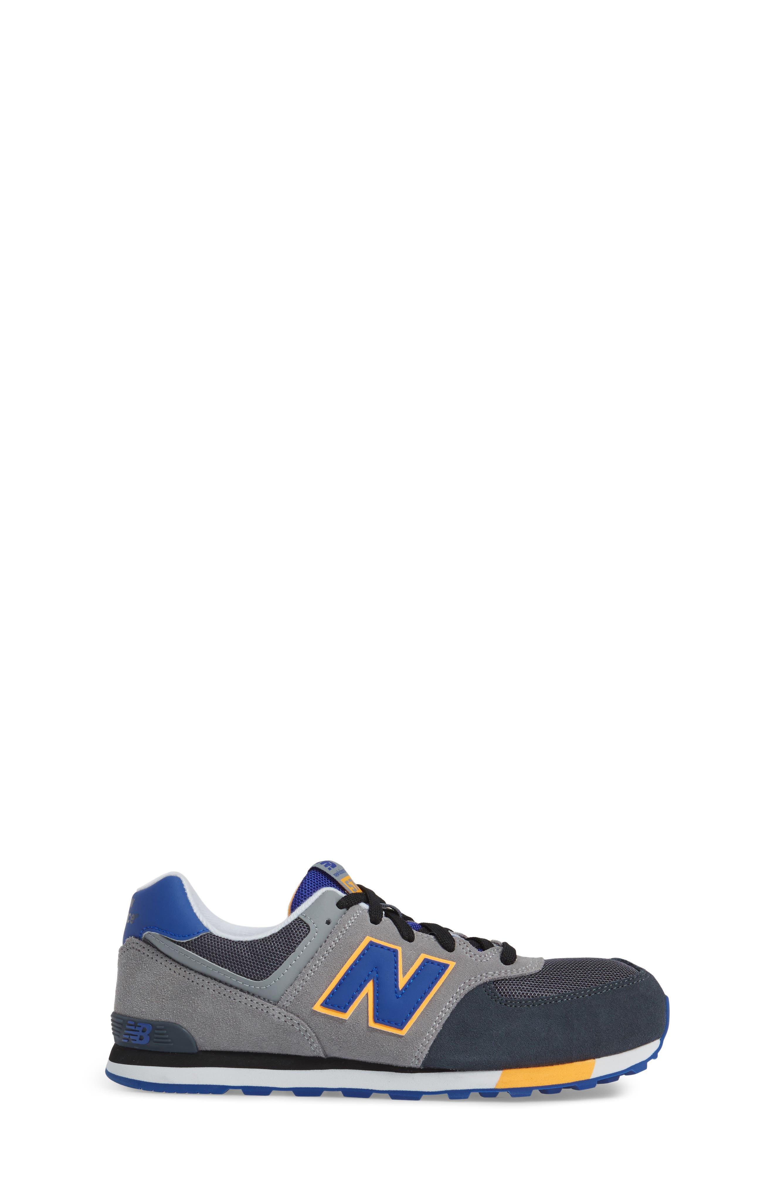 574 Cut & Paste Sneaker,                             Alternate thumbnail 3, color,                             Grey/ Blue