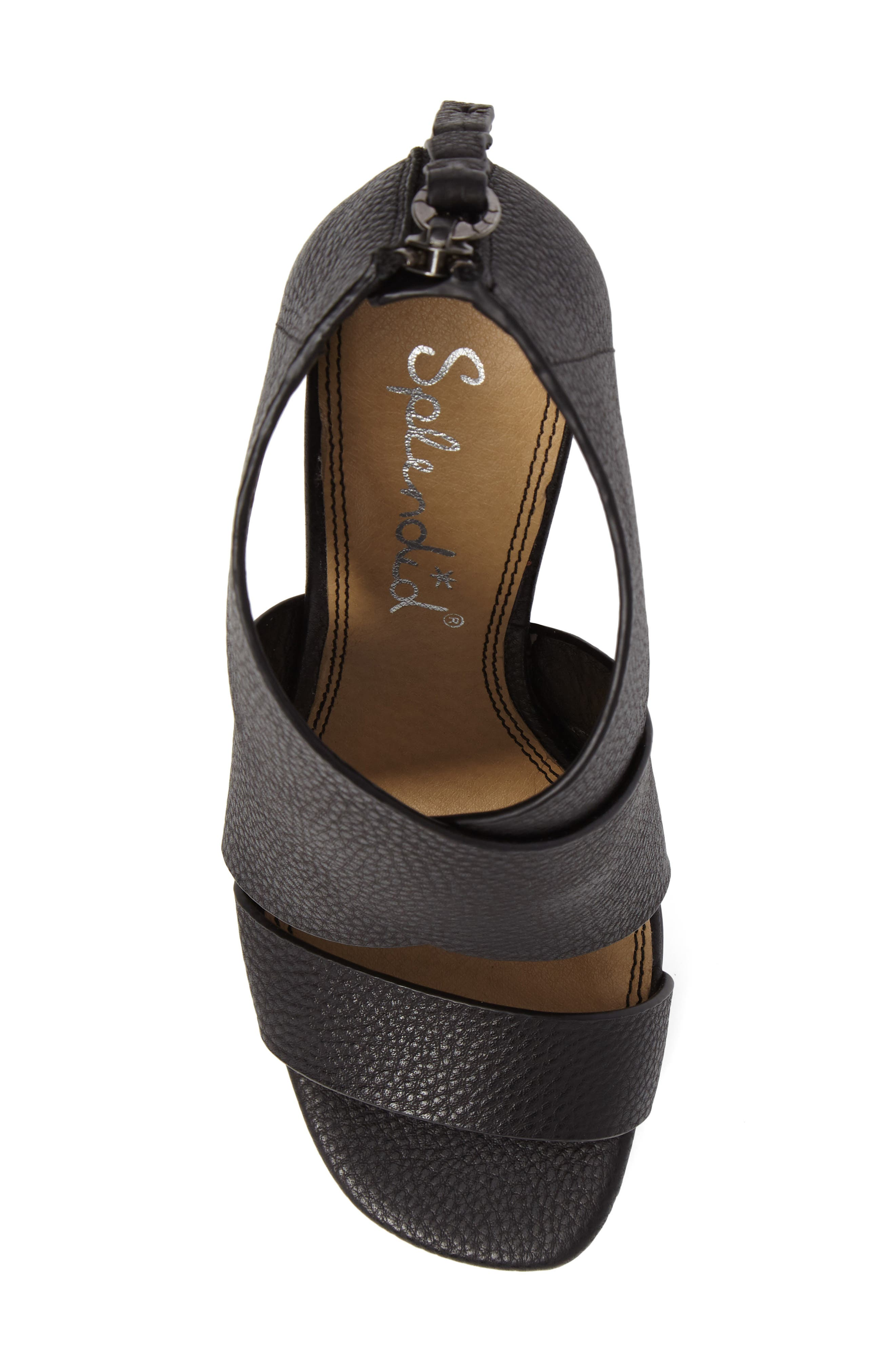 Danett Cross Strap Sandal,                             Alternate thumbnail 5, color,                             Black Leather
