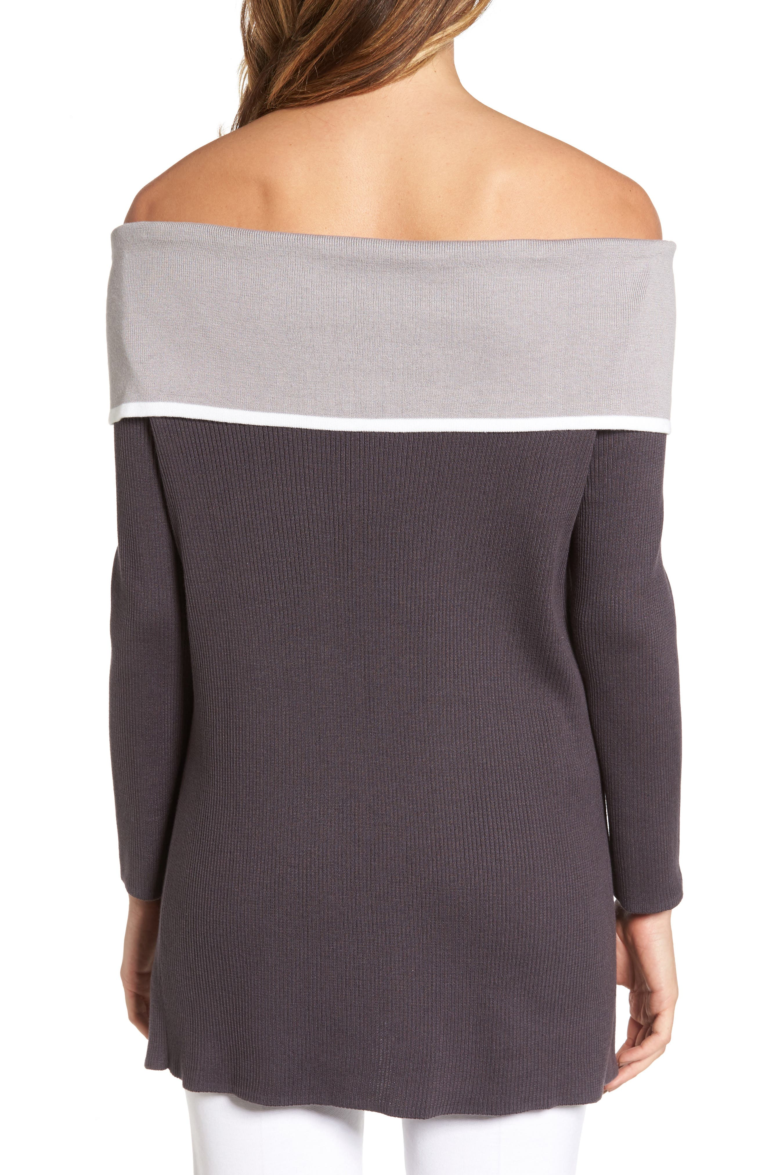 Off the Shoulder Tunic,                             Alternate thumbnail 2, color,                             Granite/ Sterling/ Ivory
