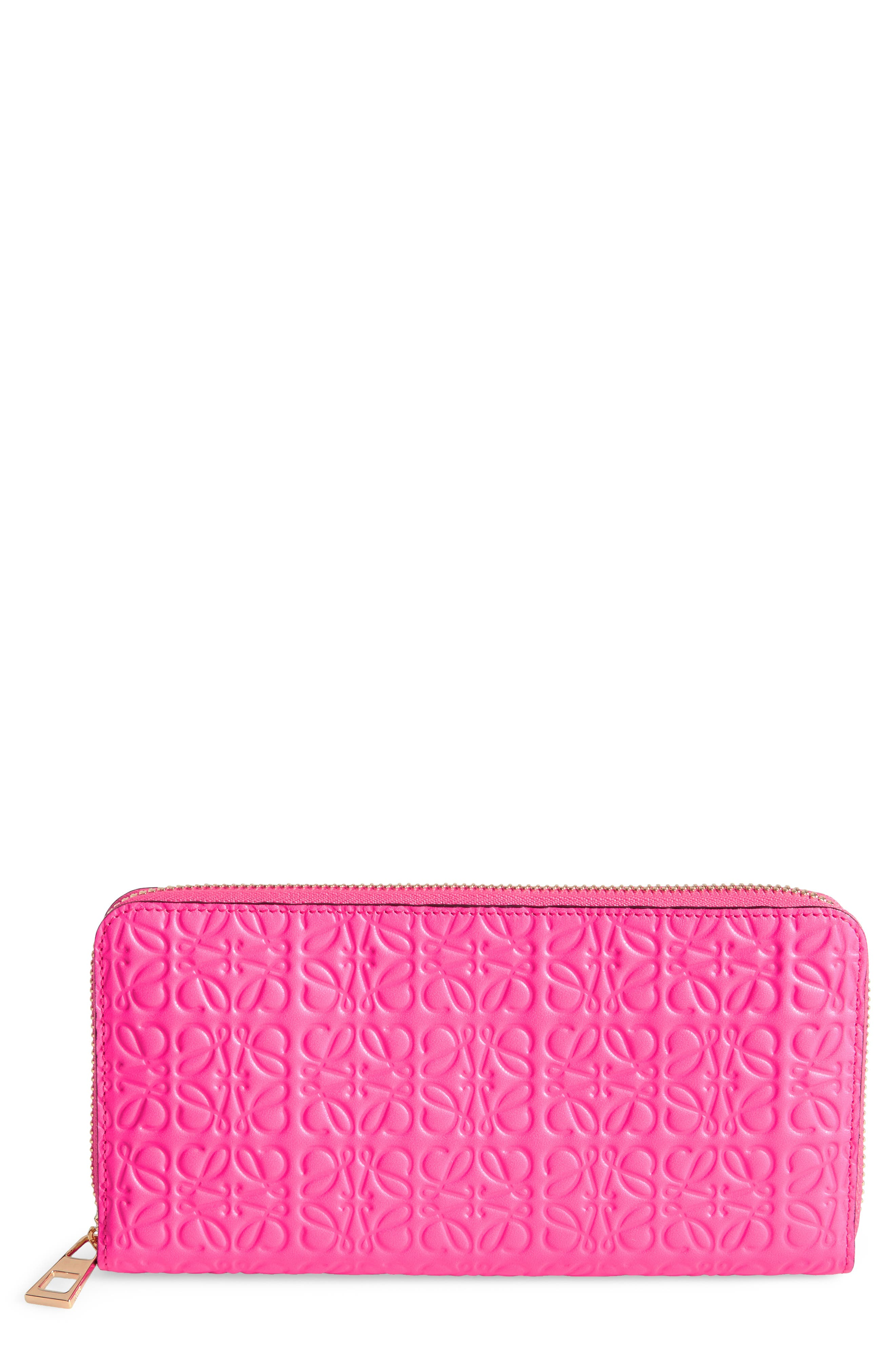 Leather Zip Around Wallet,                             Main thumbnail 1, color,                             Shocking Pink