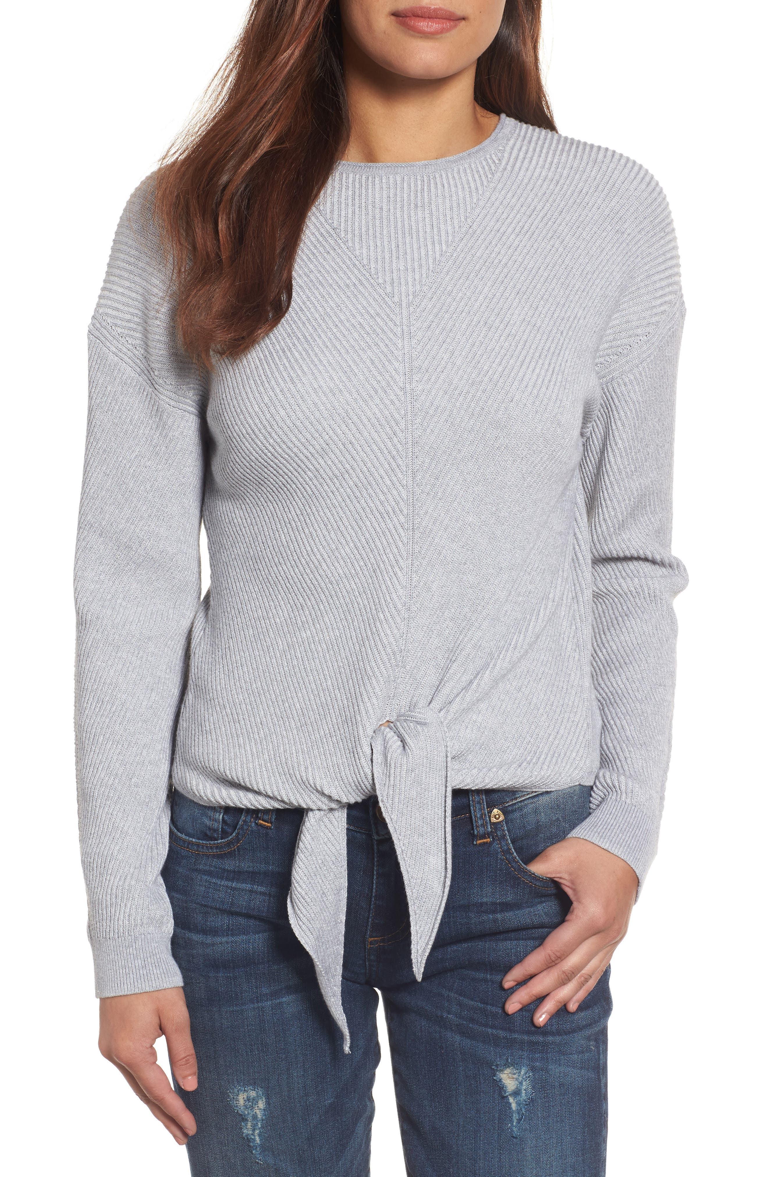 Tie Front Sweater,                             Main thumbnail 1, color,                             Heather Grey