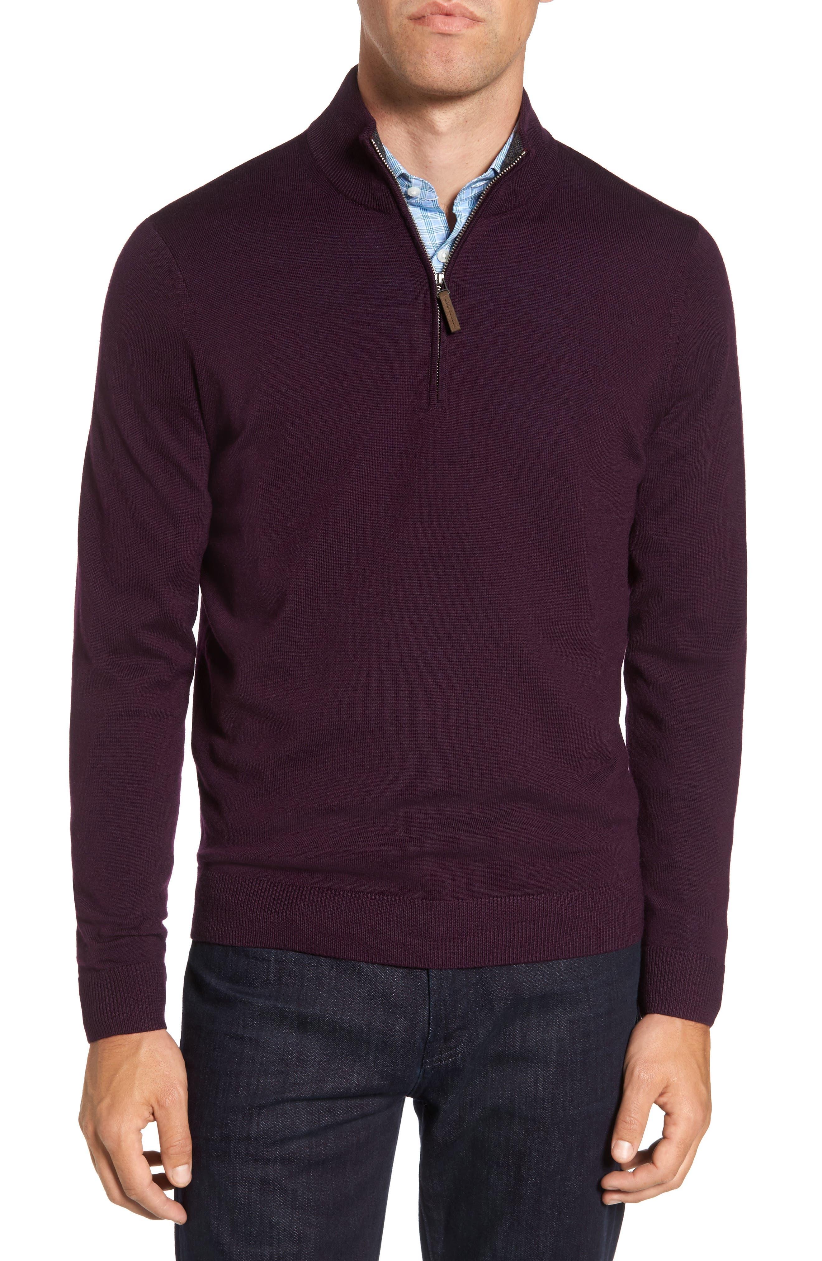 Quarter Zip Wool Pullover,                         Main,                         color, Purple Plum