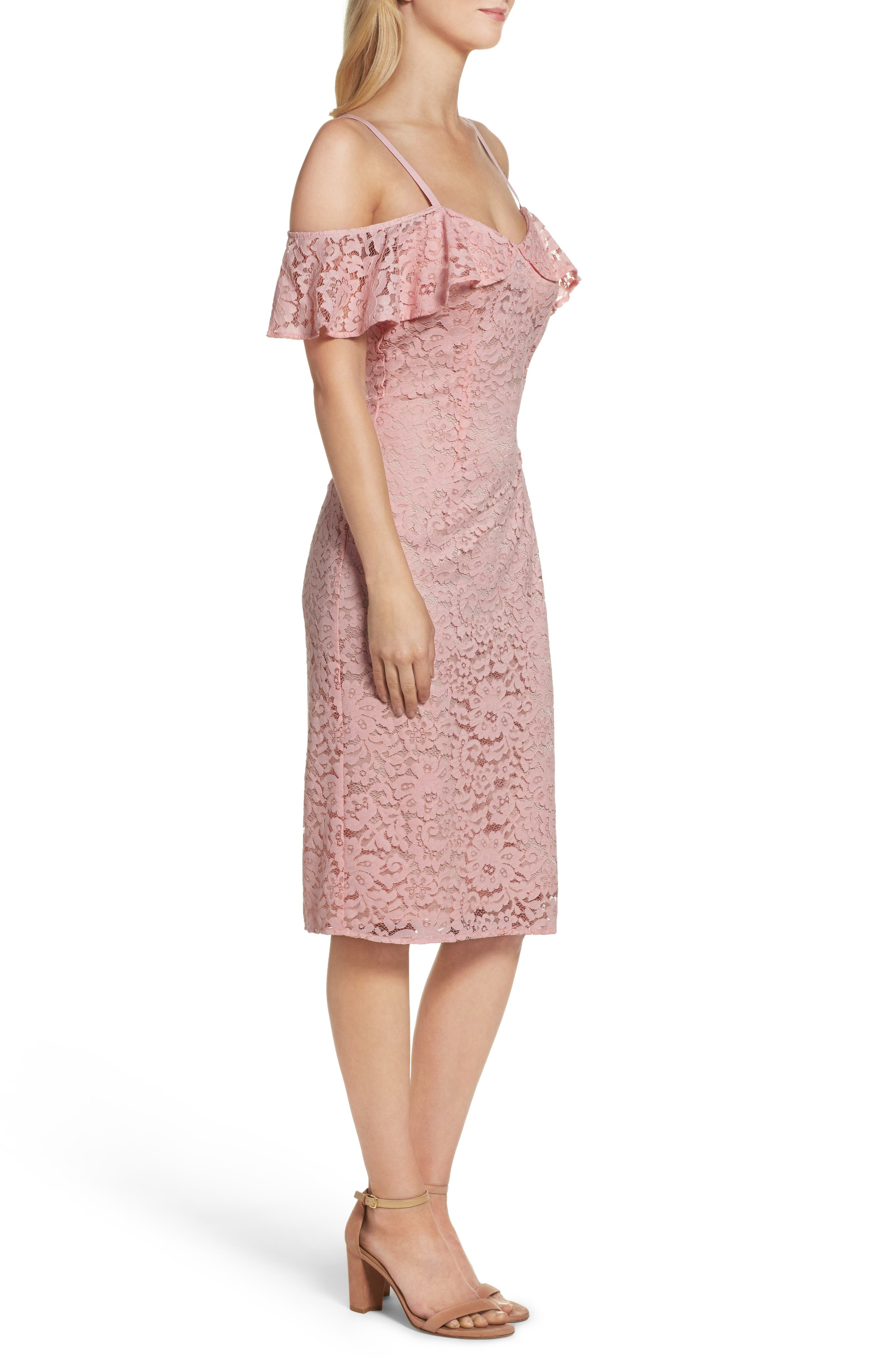Mysterious Off the Shoulder Dress,                             Alternate thumbnail 3, color,                             Pink Champagne
