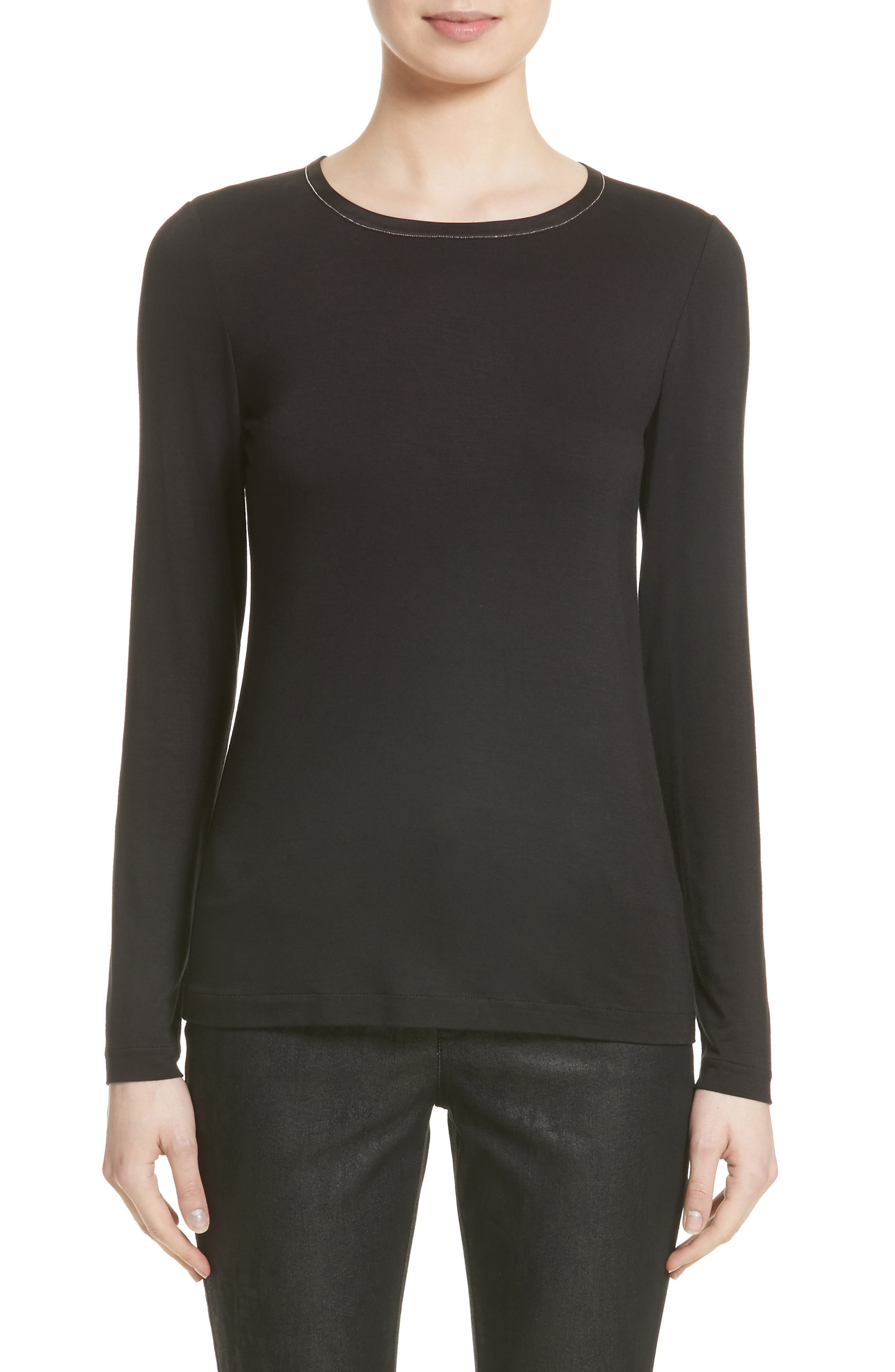 Lafayette 148 New York Embellished Neck Long Sleeve Tee (Nordstrom Exclusive)
