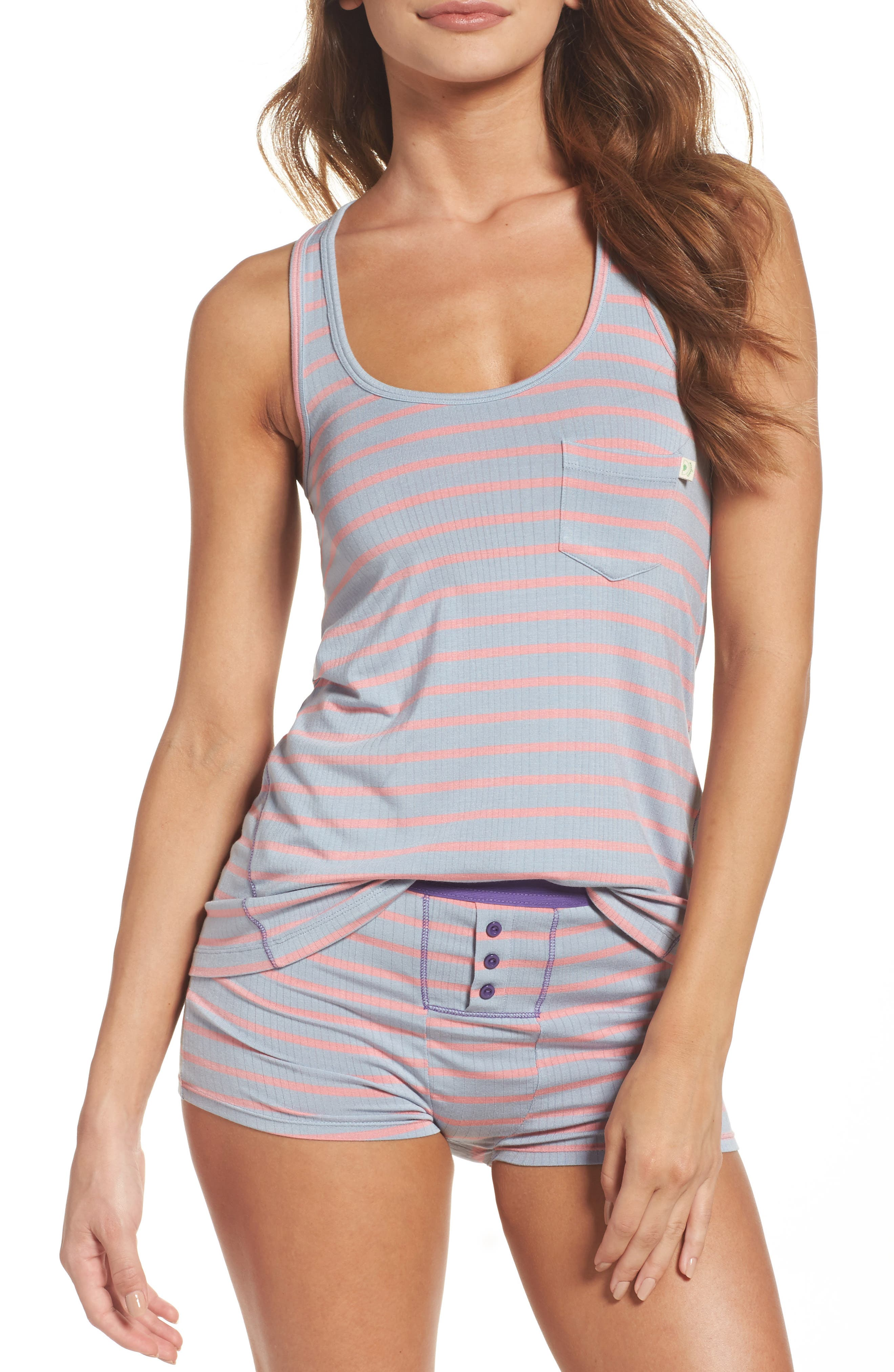 Rib Pajamas,                             Main thumbnail 1, color,                             Cameo Stripe