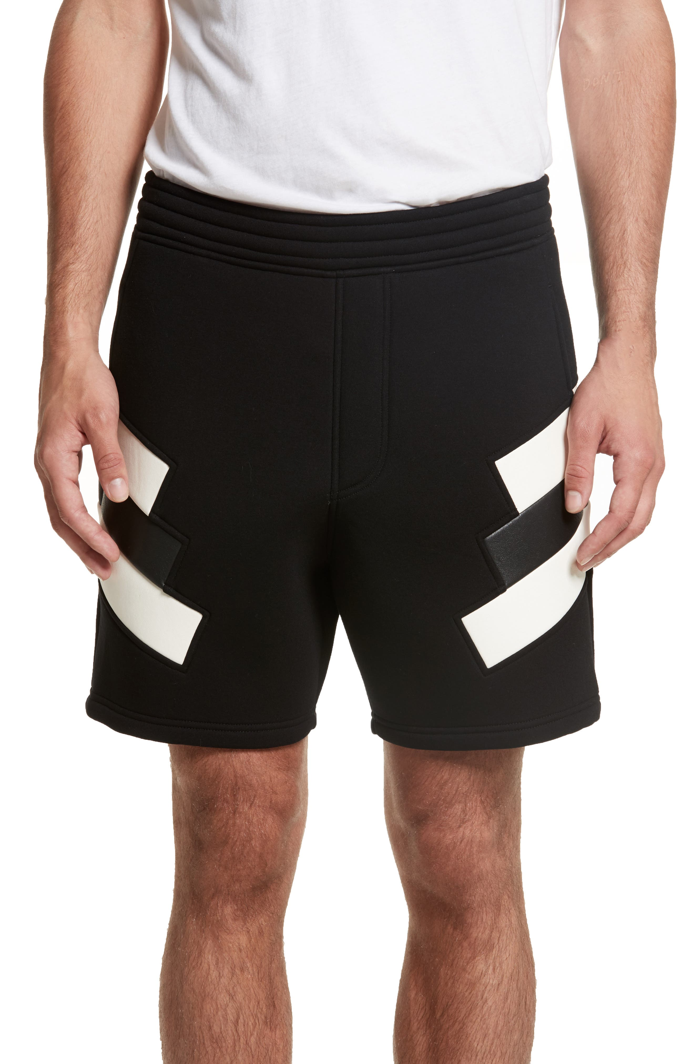 Retro Faux Leather Trim Sweat Shorts,                             Main thumbnail 1, color,                             Black/ Off White