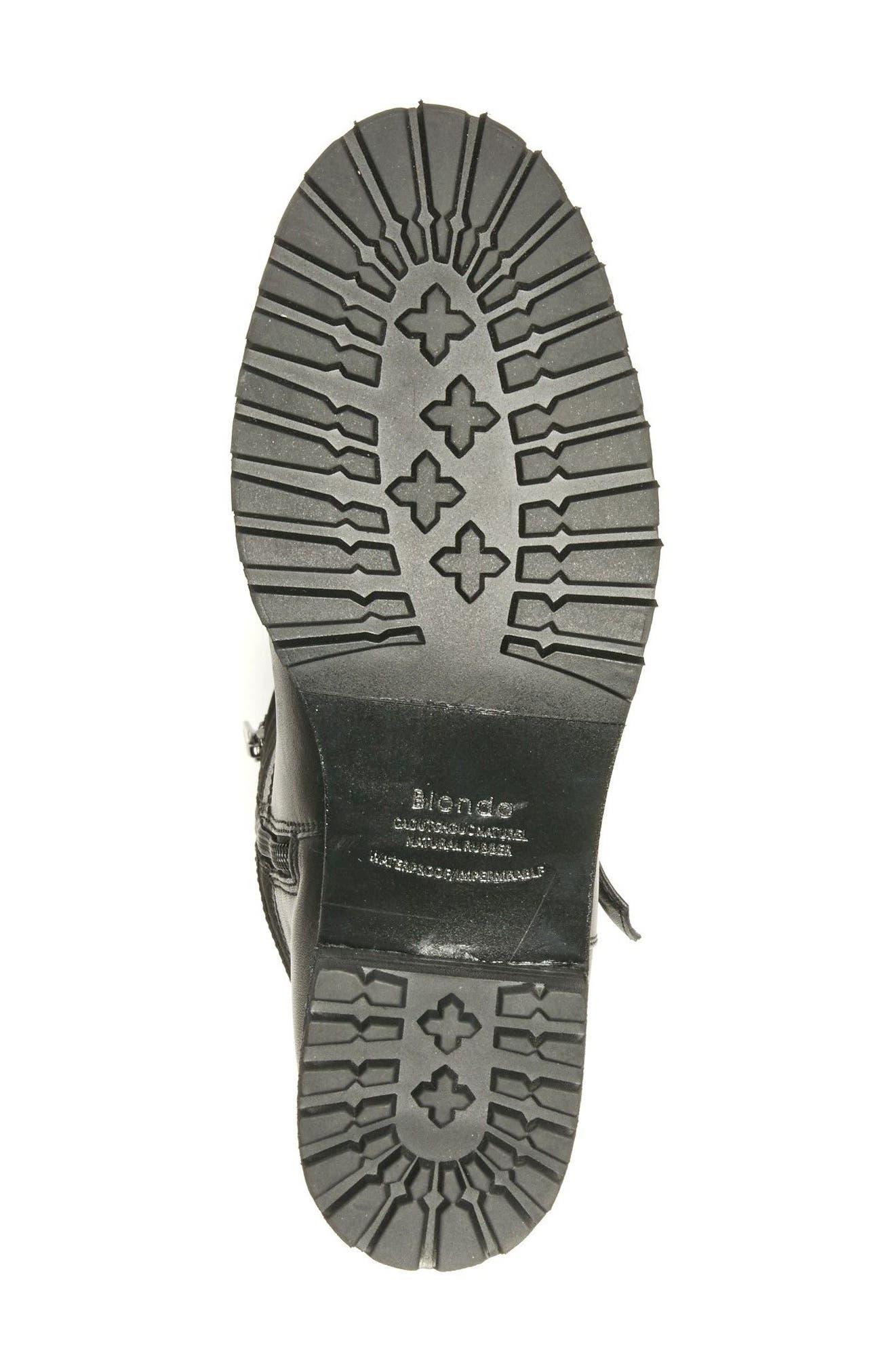 Lenie Waterproof Moto Boot,                             Alternate thumbnail 6, color,                             Black Leather