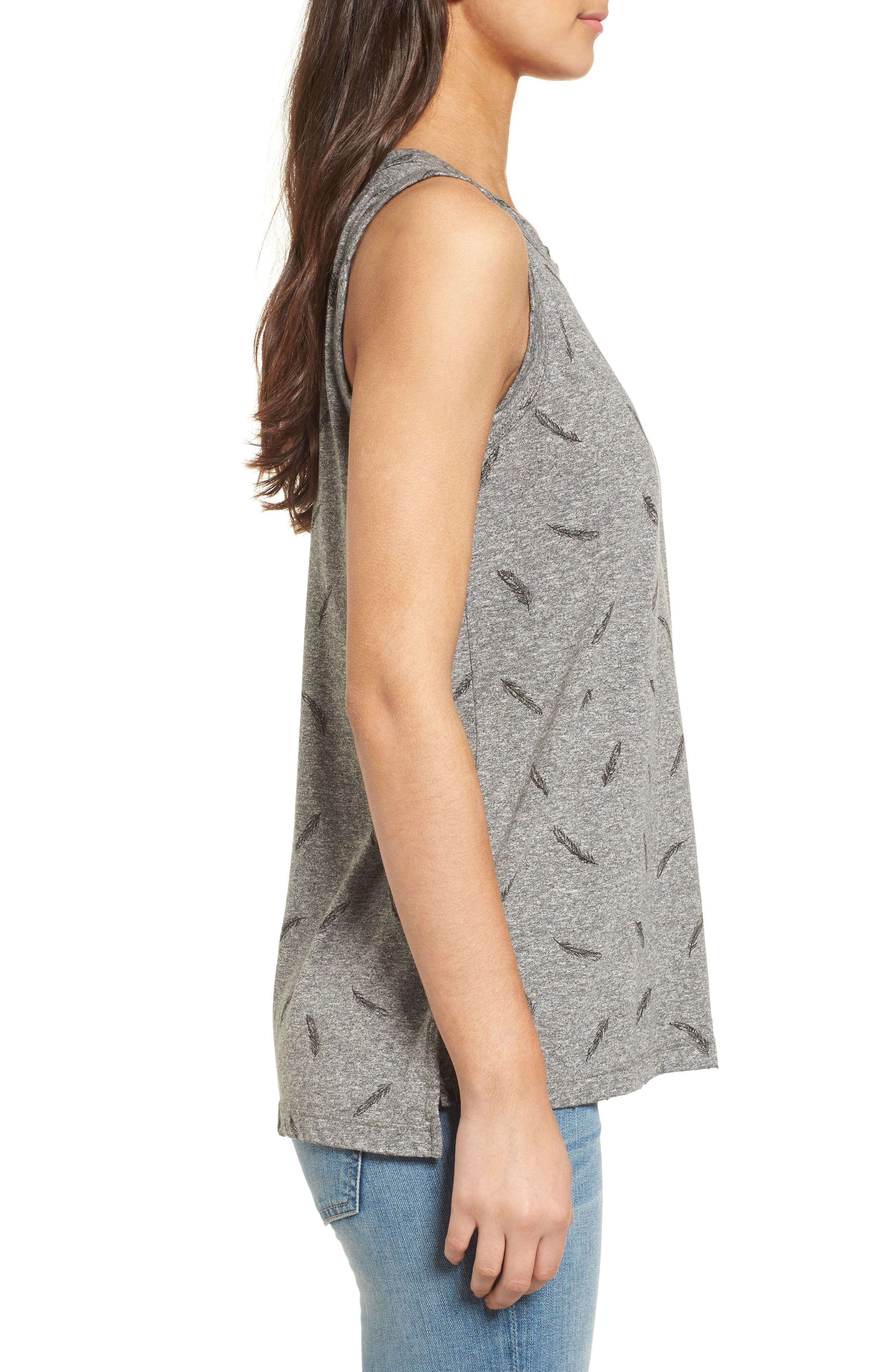 The Muscle Print Tank,                             Alternate thumbnail 3, color,                             Heather Grey W/ Feather