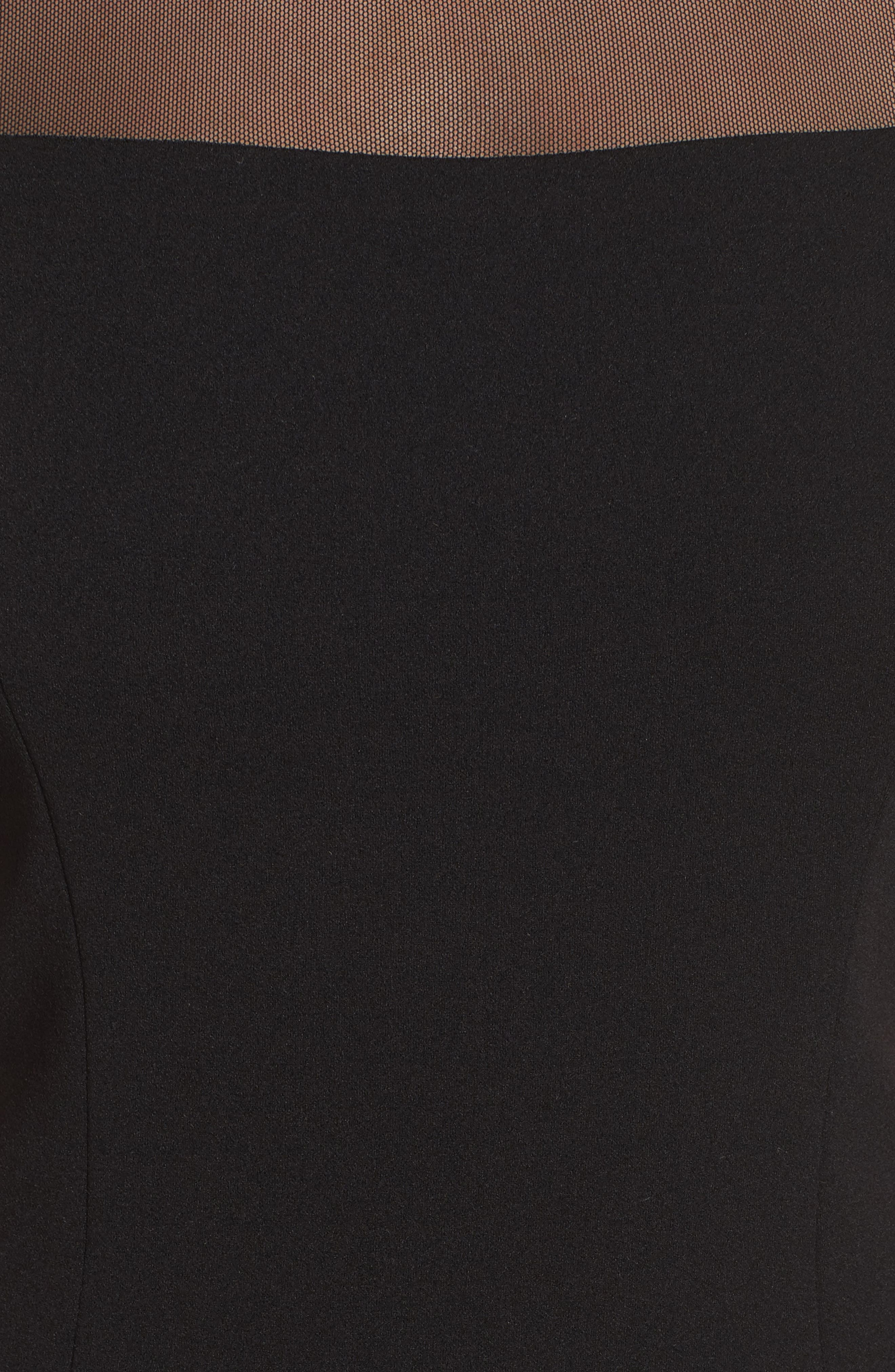 Illusion Stripe Trumpet Gown,                             Alternate thumbnail 5, color,                             Black