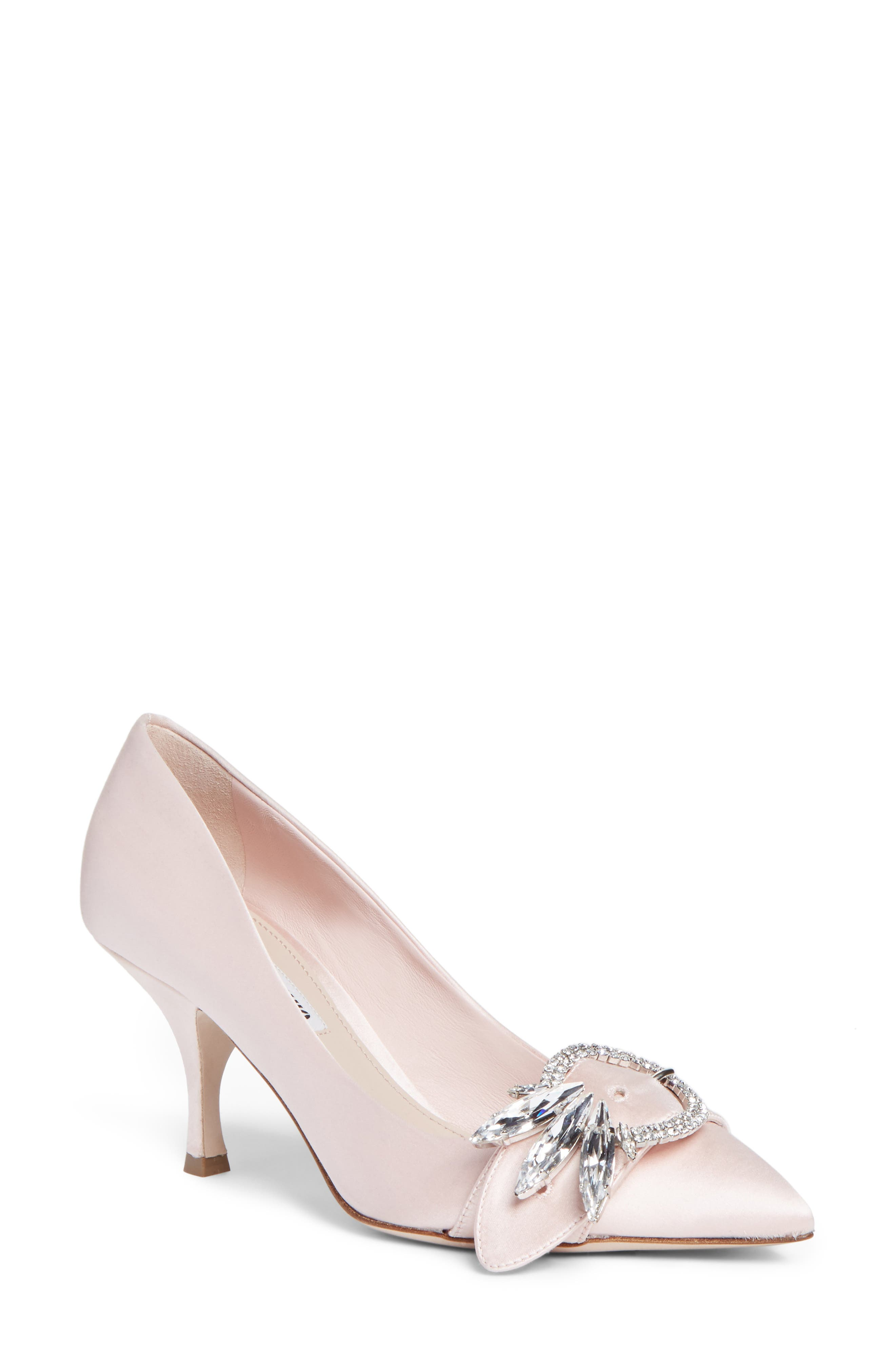 Crystal Buckle Pump,                             Main thumbnail 1, color,                             Pink Satin