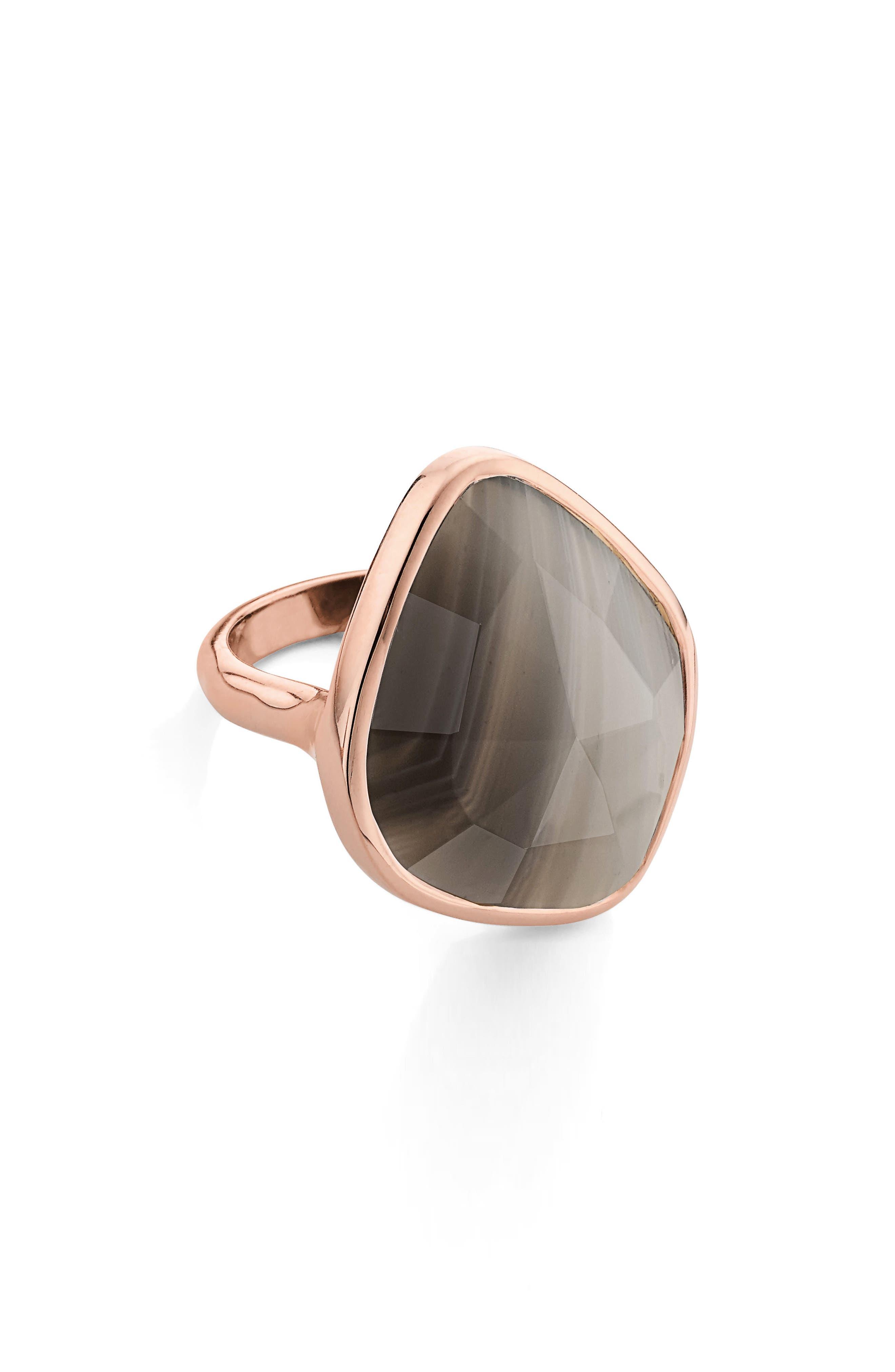 Siren Nugget Semiprecious Stone Ring,                             Alternate thumbnail 3, color,                             Grey Agate/ Rose Gold