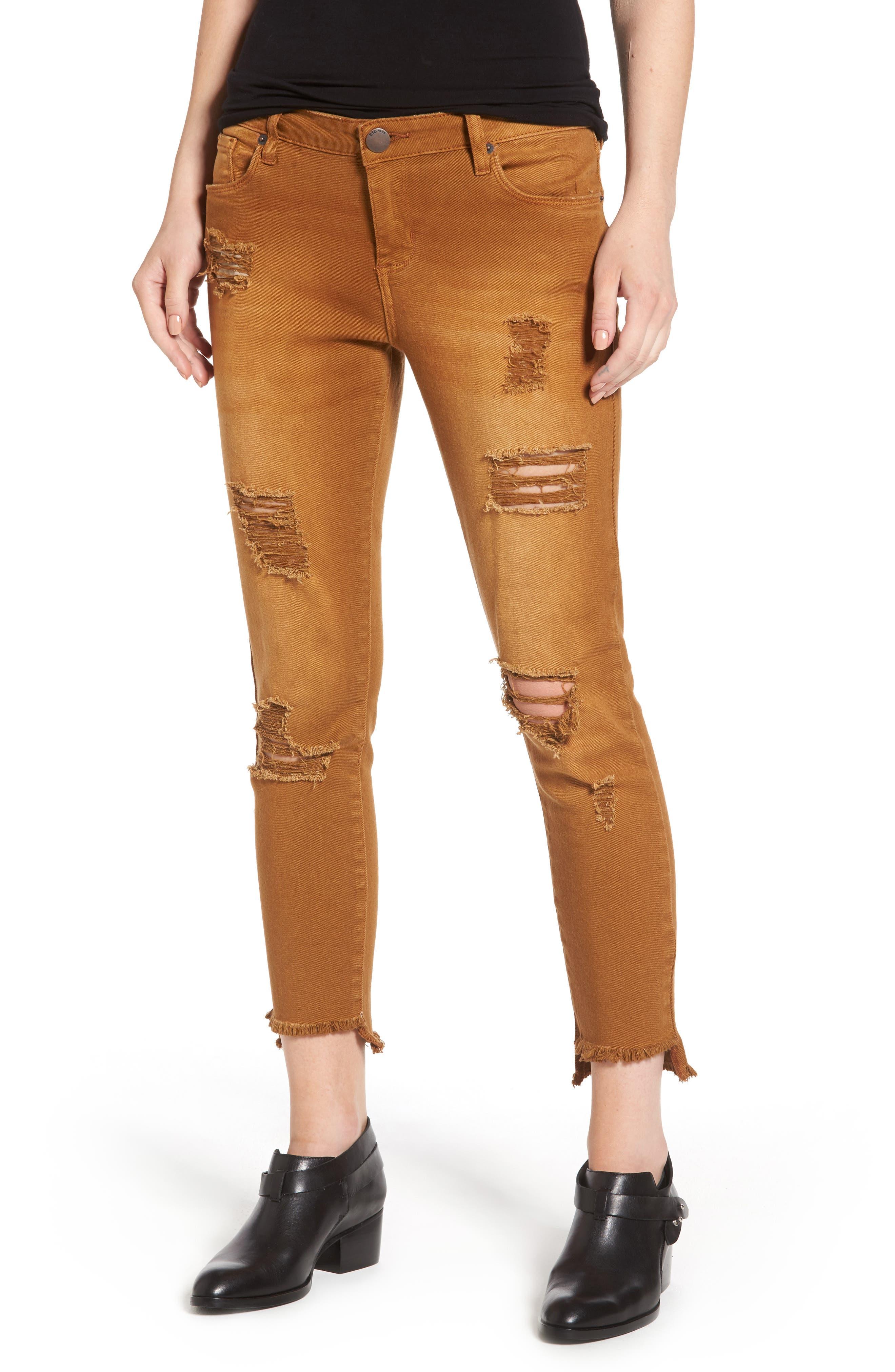 Step Hem Skinny Jeans,                         Main,                         color, Cinnamon
