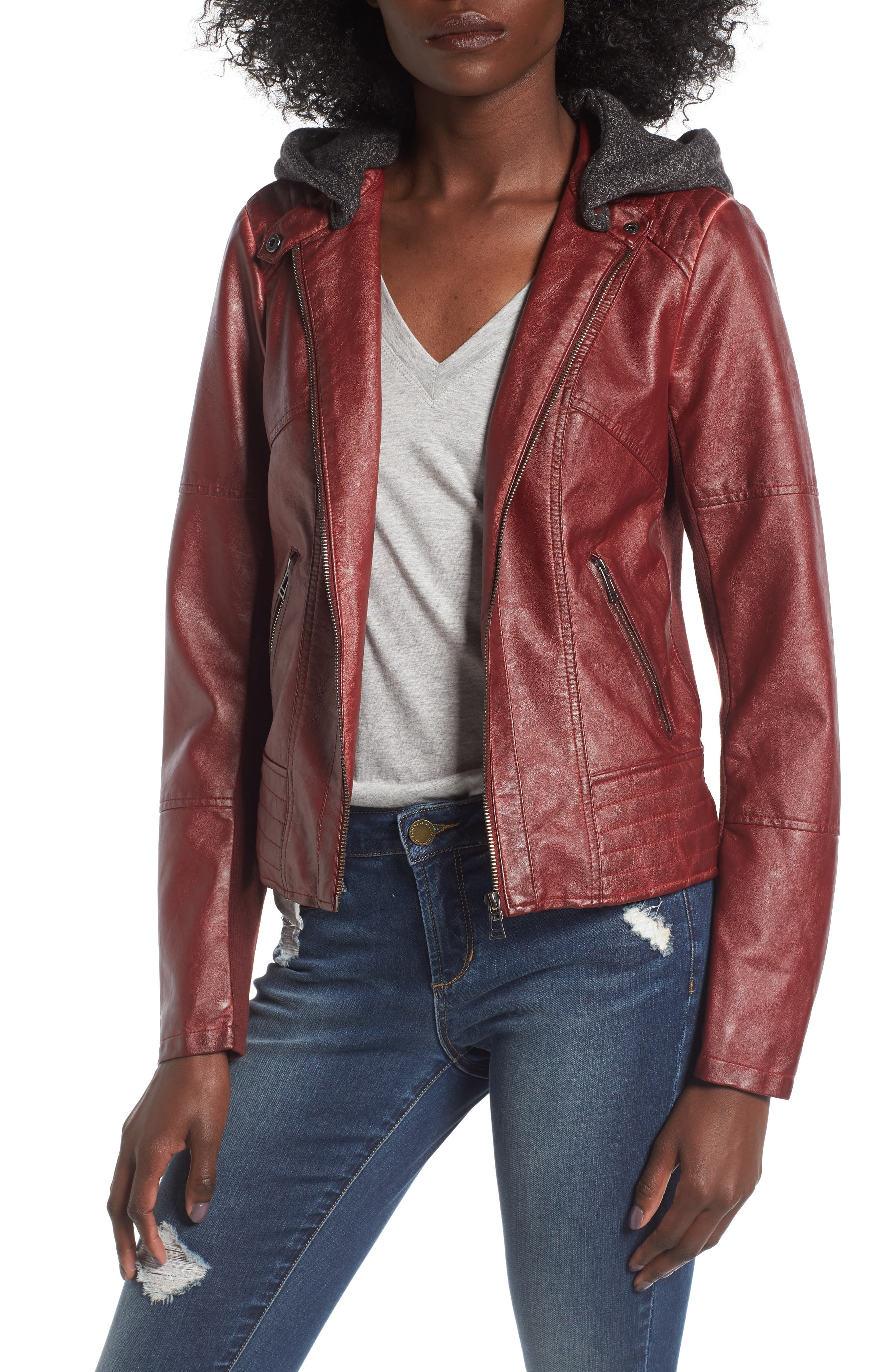 Faux Leather Jacket with Detachable Jersey Hood,                         Main,                         color, Red