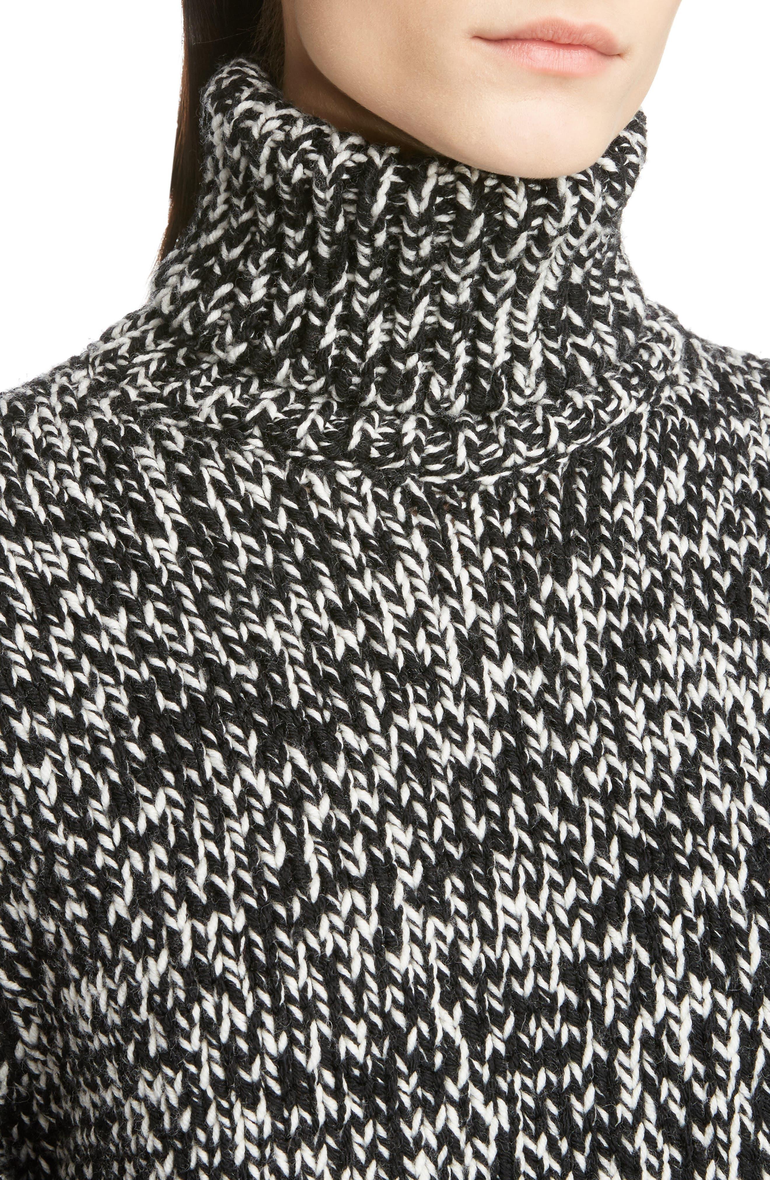 Mélange Knit Wool Turtleneck Sweater,                             Alternate thumbnail 4, color,                             Natural/ Black
