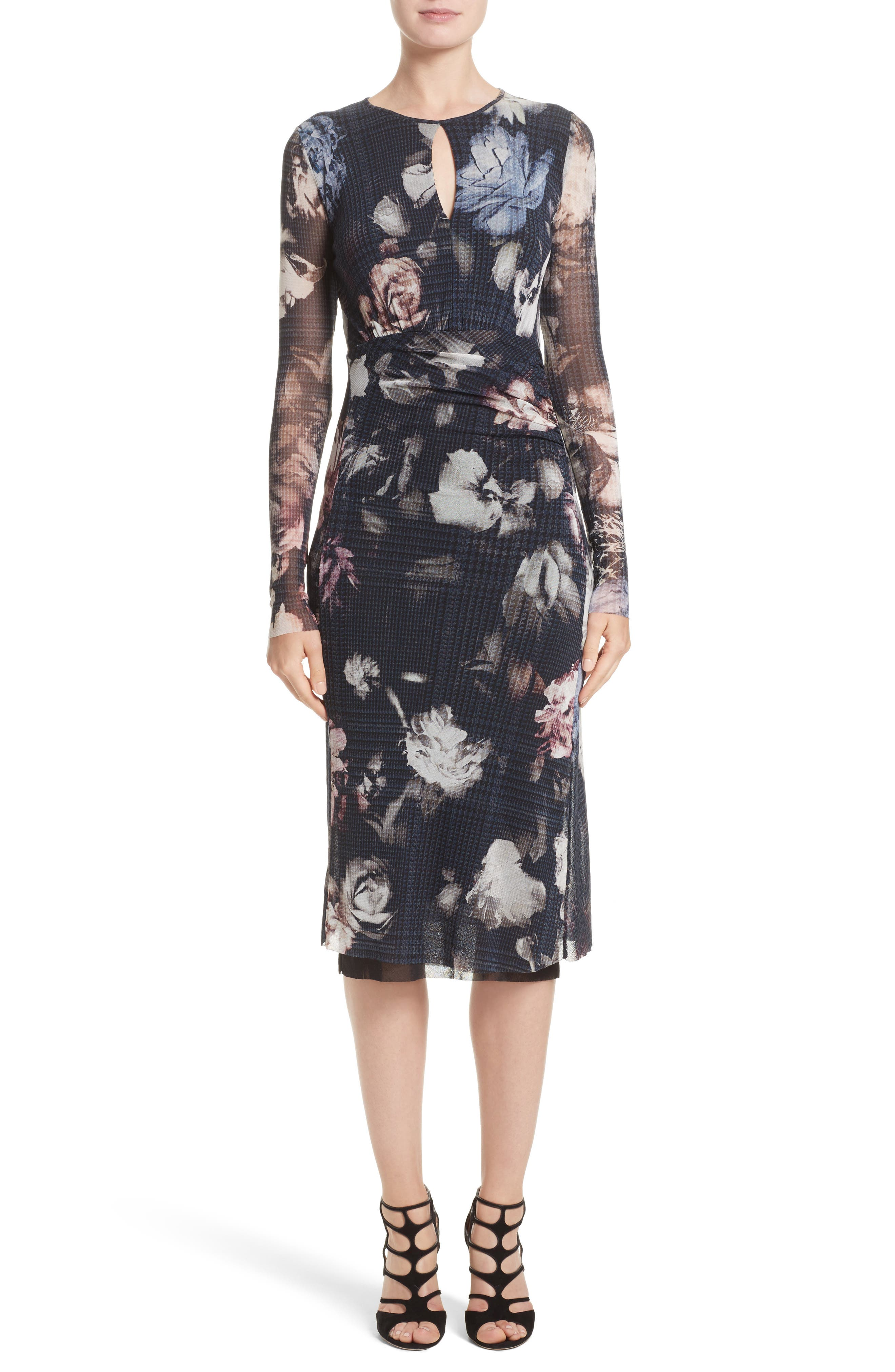 Fuzzi Floral Print Tulle Keyhole Dress