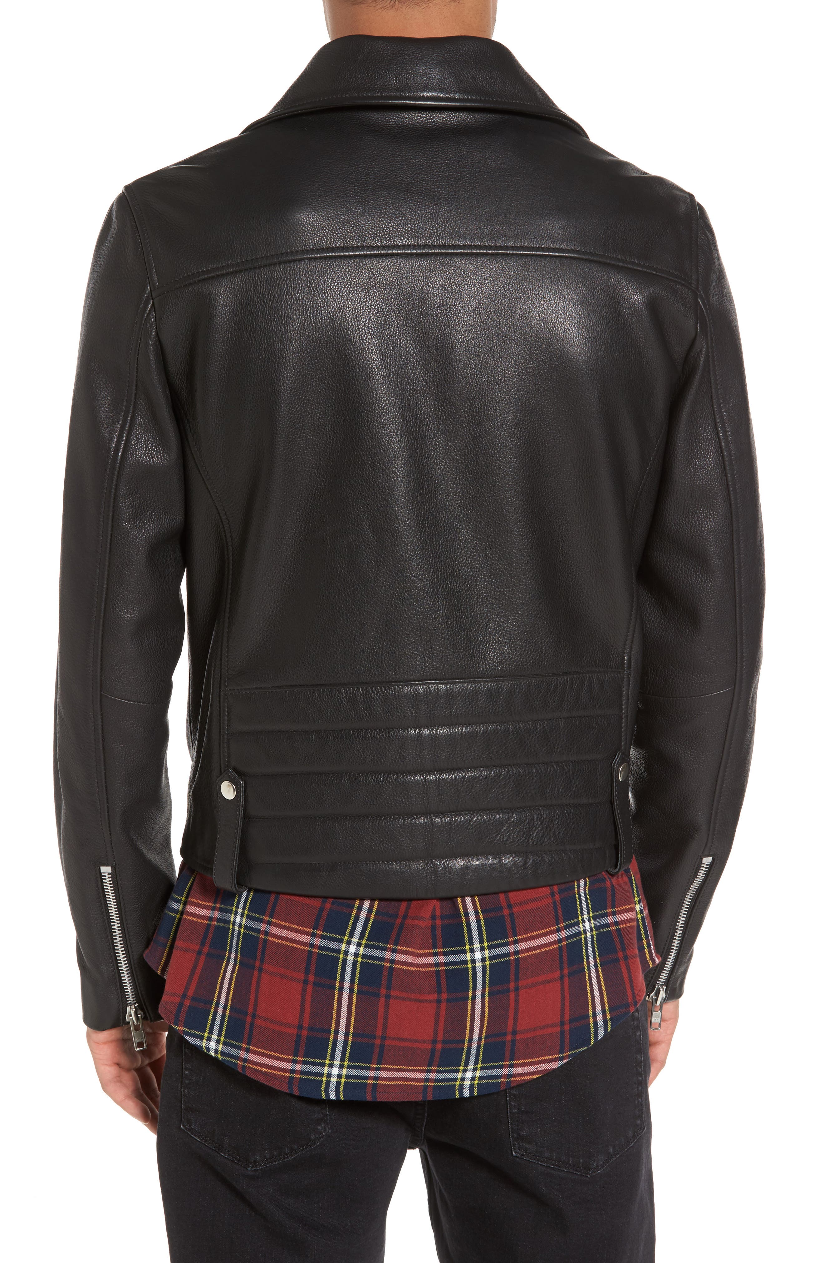 Staines Leather Moto Jacket,                             Alternate thumbnail 2, color,                             Black