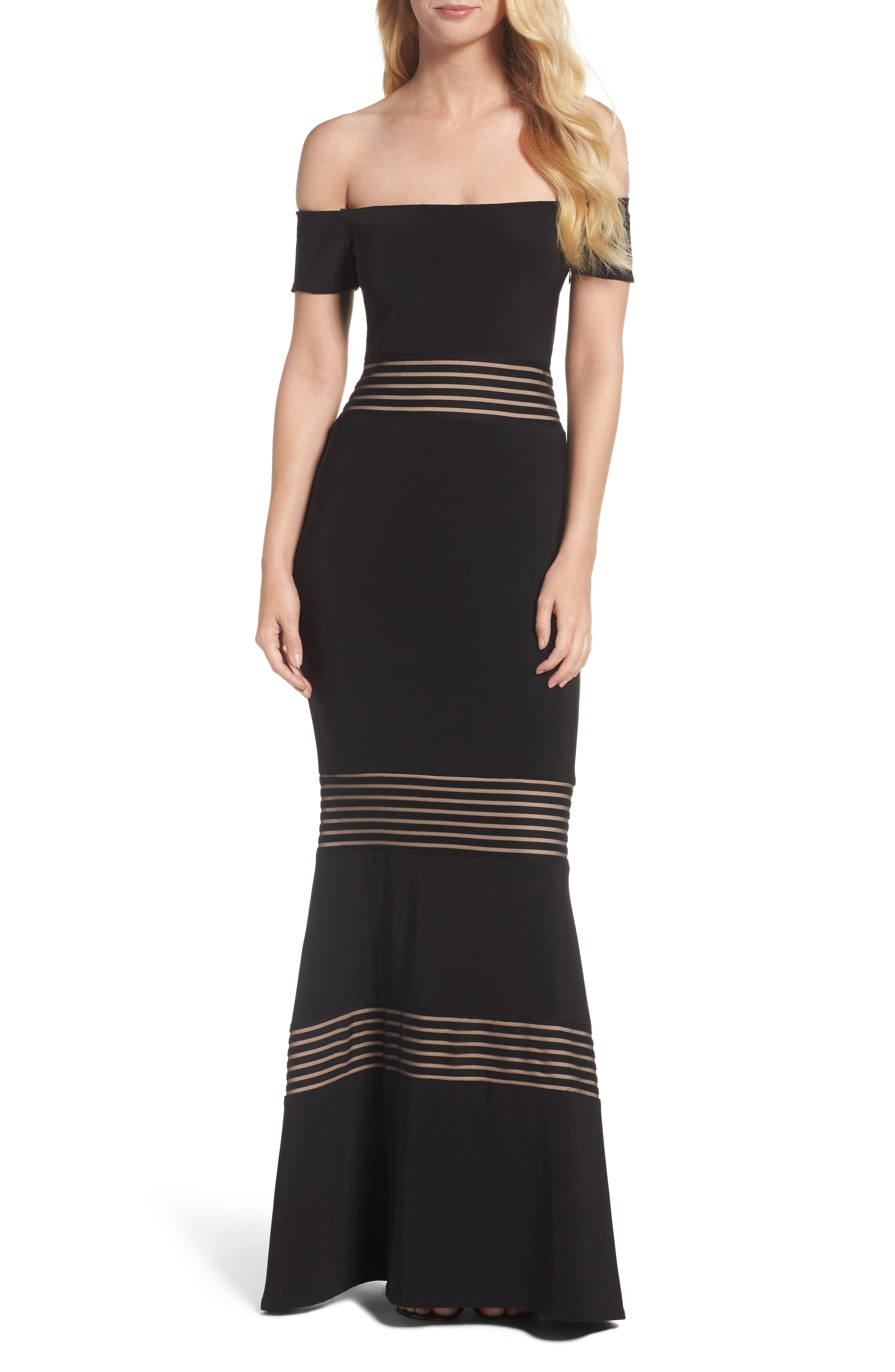 Inset Off the Shoulder Mermaid Gown,                         Main,                         color, Black/ Nude