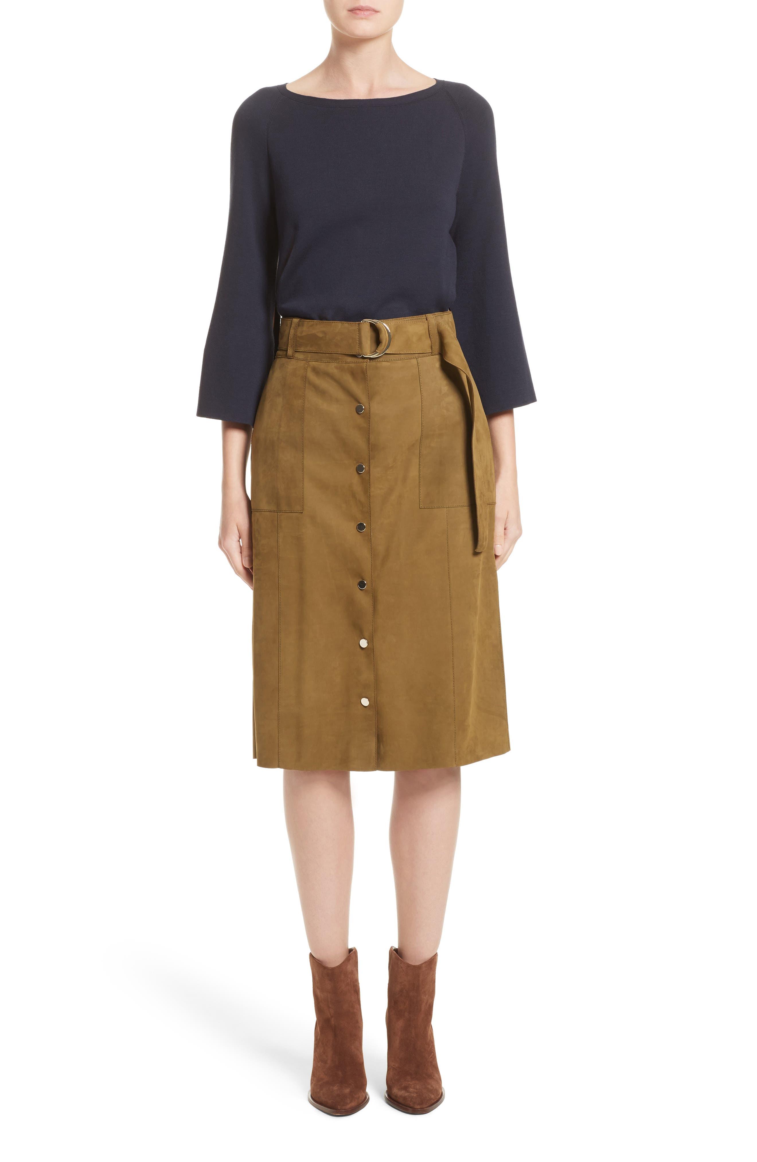 Orla Leather Skirt,                             Alternate thumbnail 7, color,                             Kelp