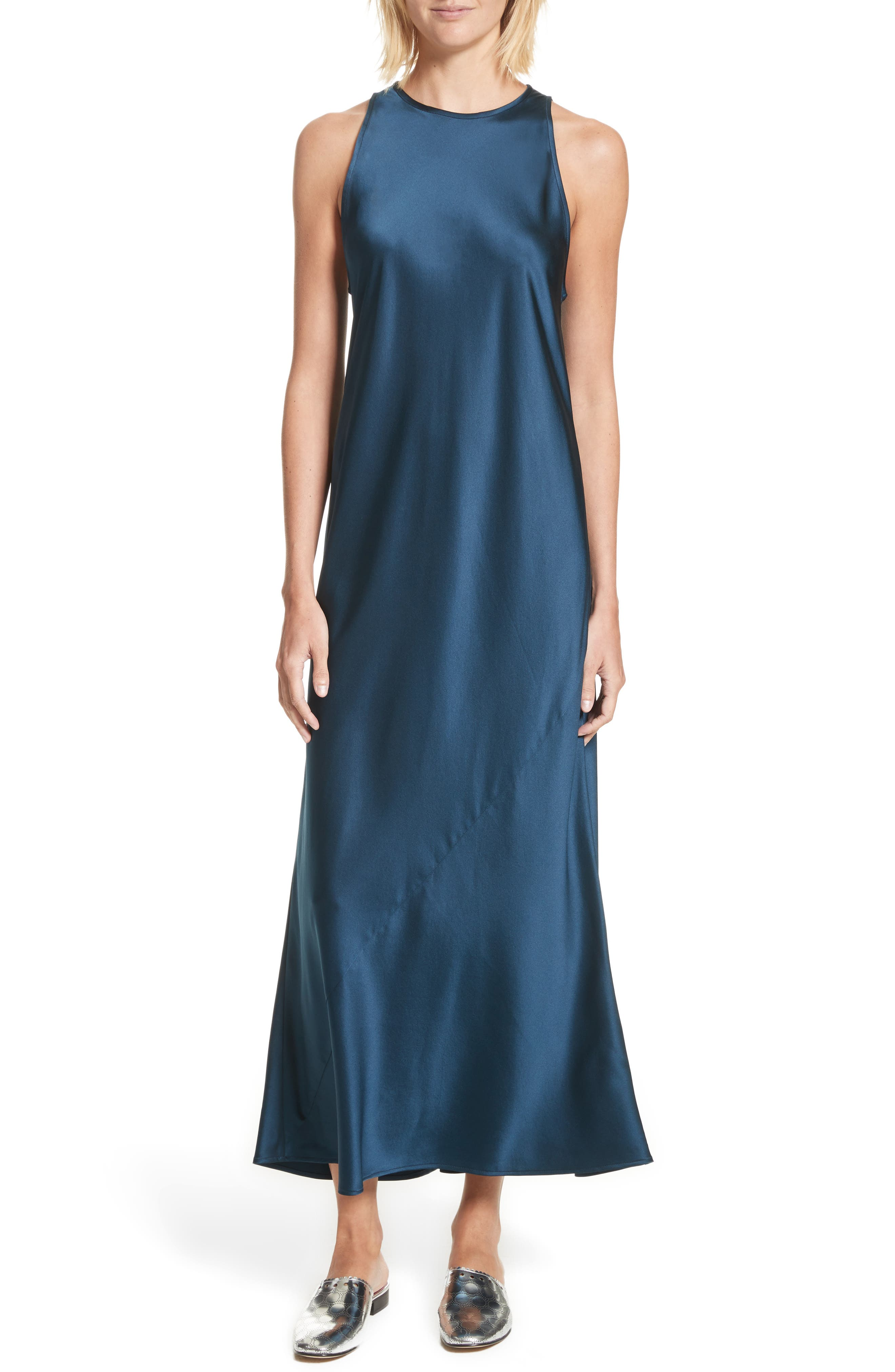 Mikel Stretch Silk Midi Dress,                         Main,                         color, Admiral