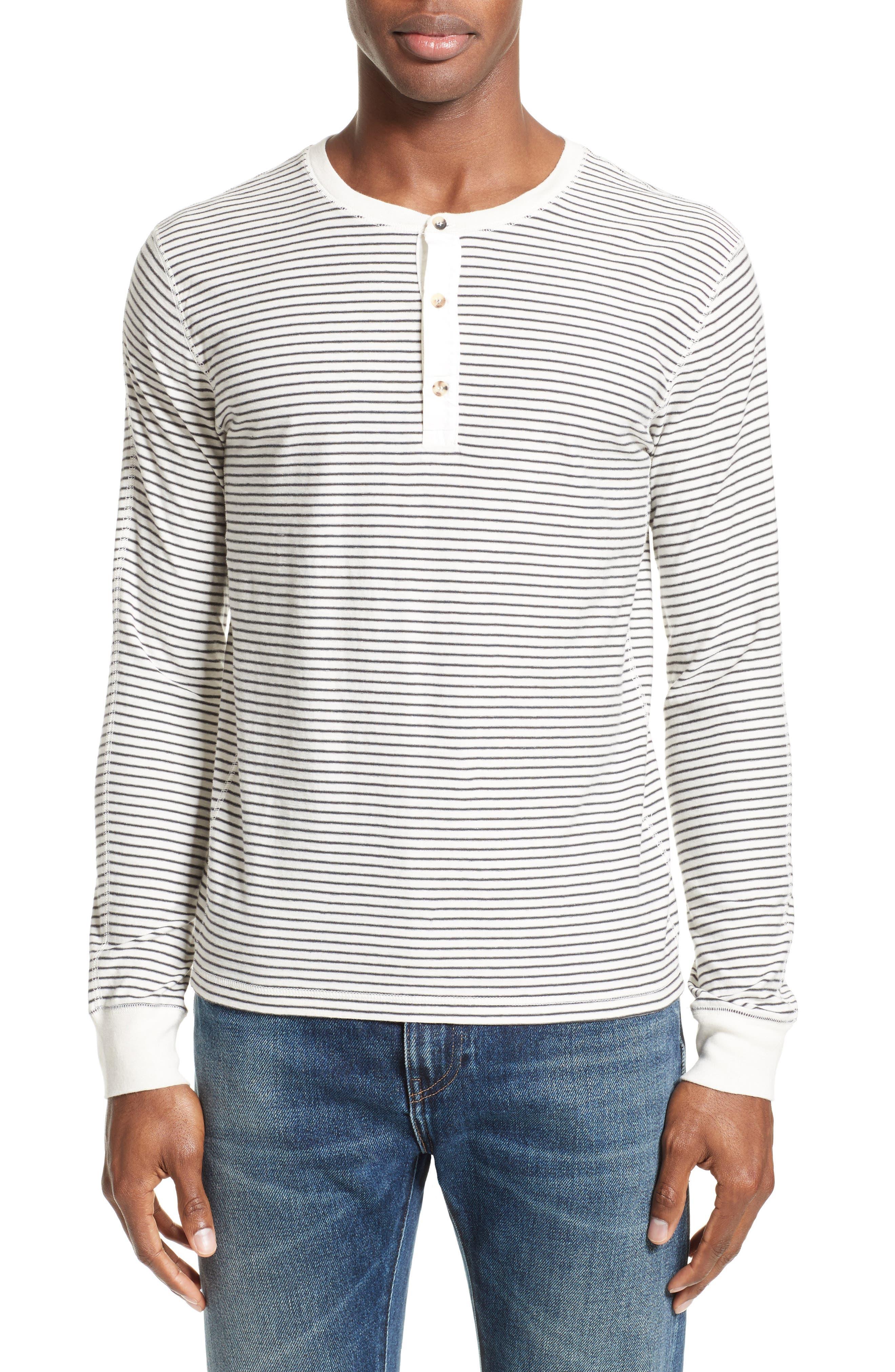 Stripe Henley,                         Main,                         color, Grey