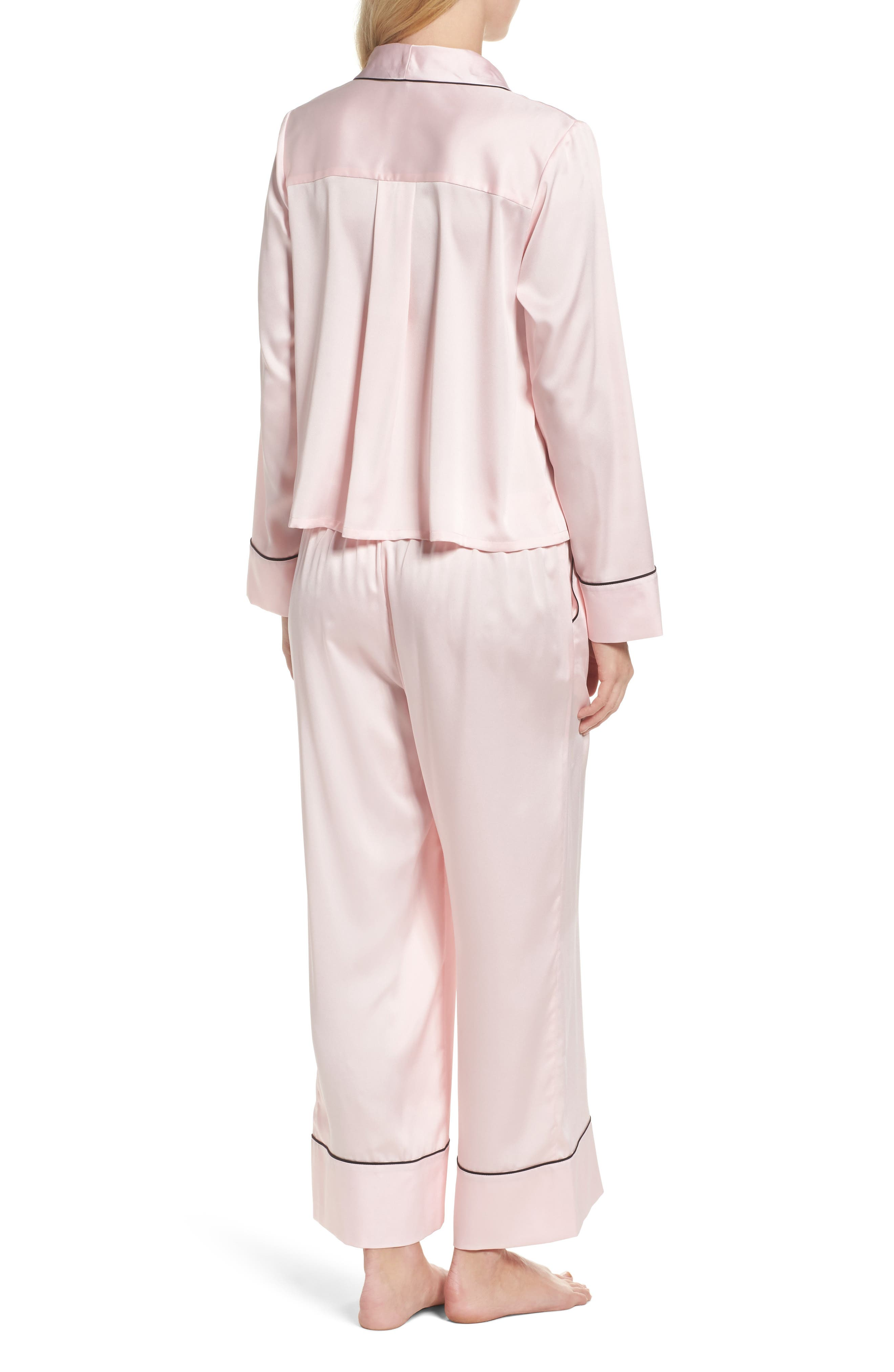 crop pajamas,                             Alternate thumbnail 2, color,                             Pink
