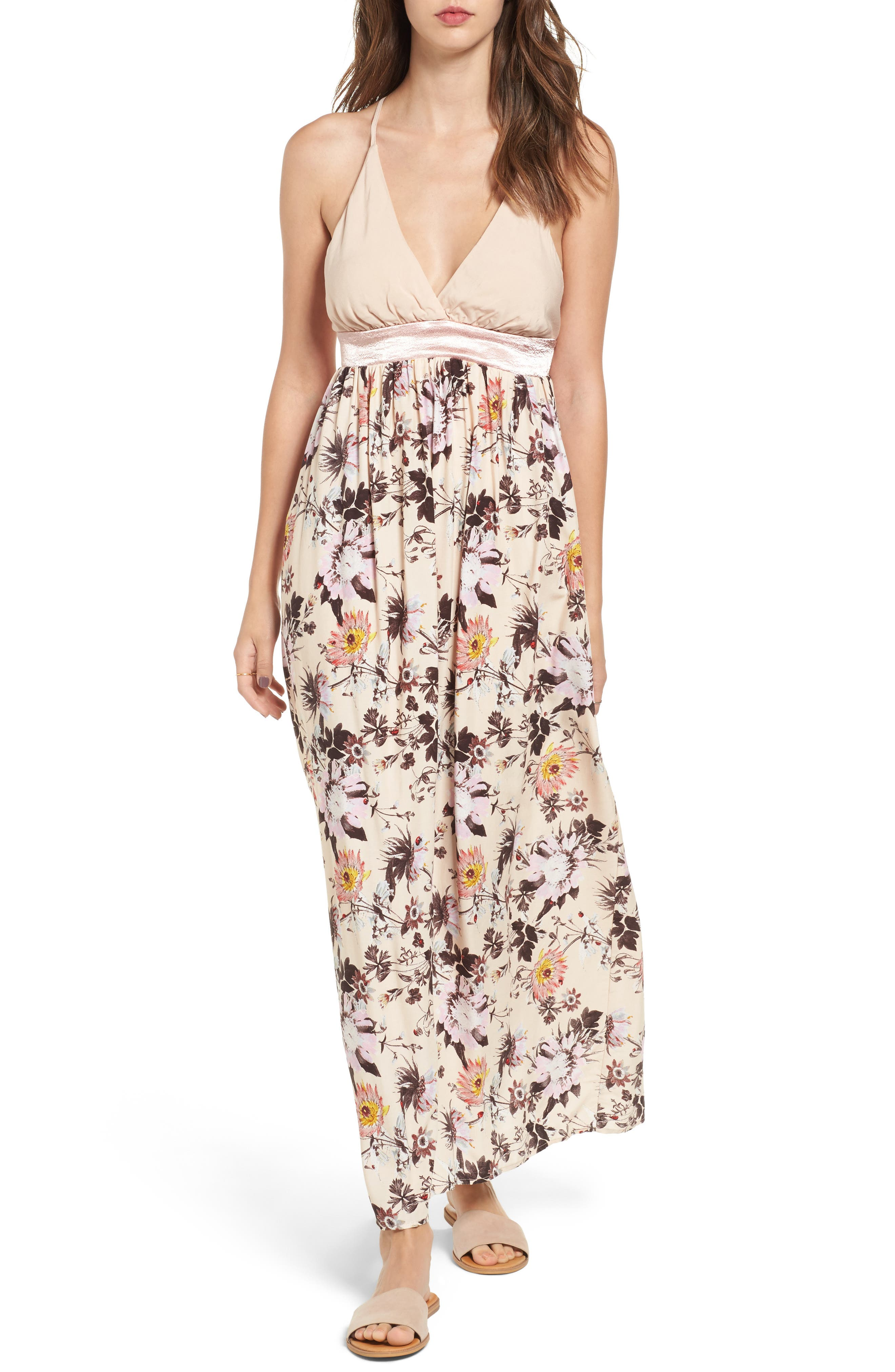 Love, Fire Floral Print Maxi Dress