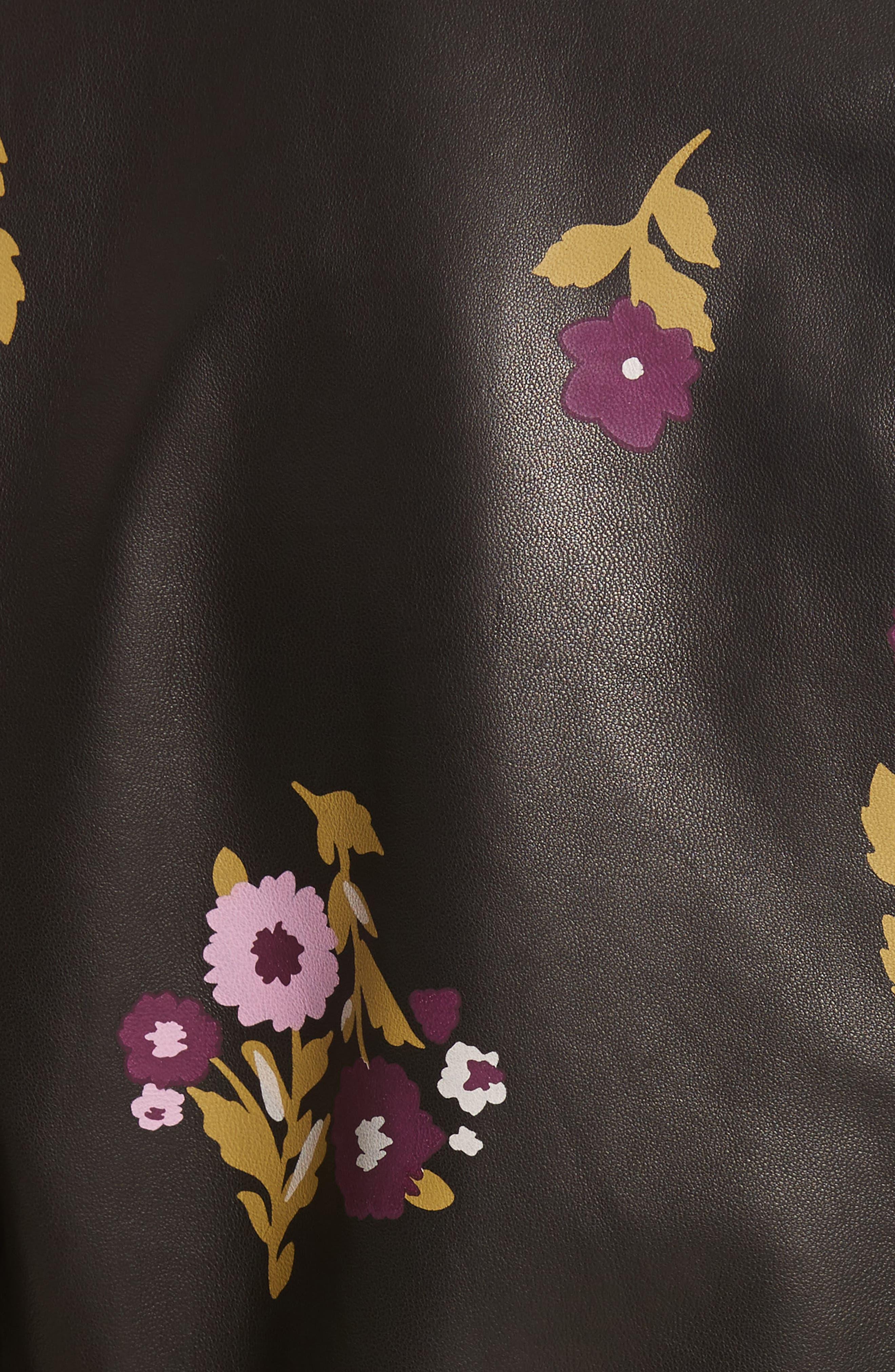 in bloom leather bomber jacket,                             Alternate thumbnail 5, color,                             Black