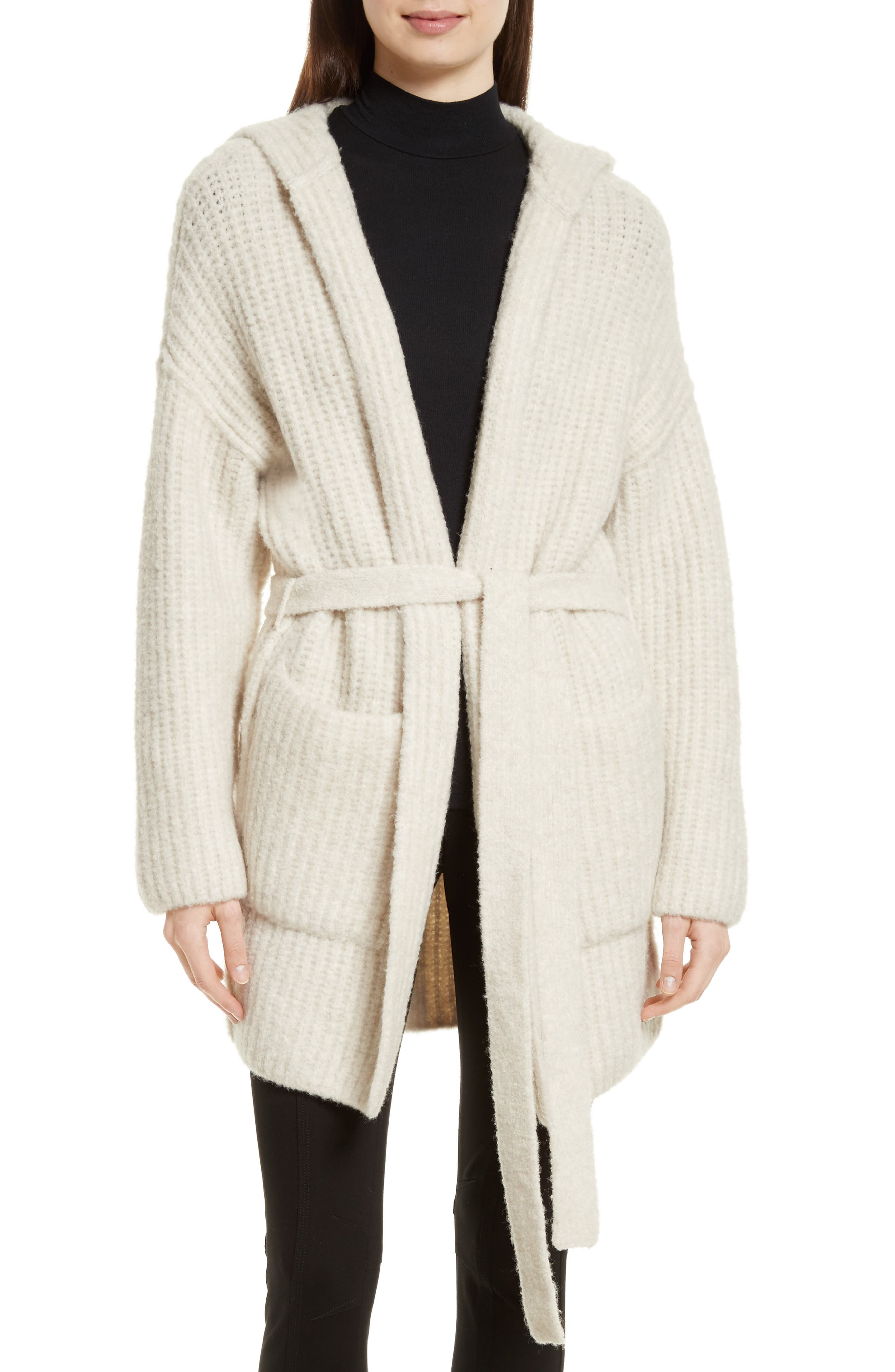 Hooded Sweater Coat,                         Main,                         color, Dusty Ivory