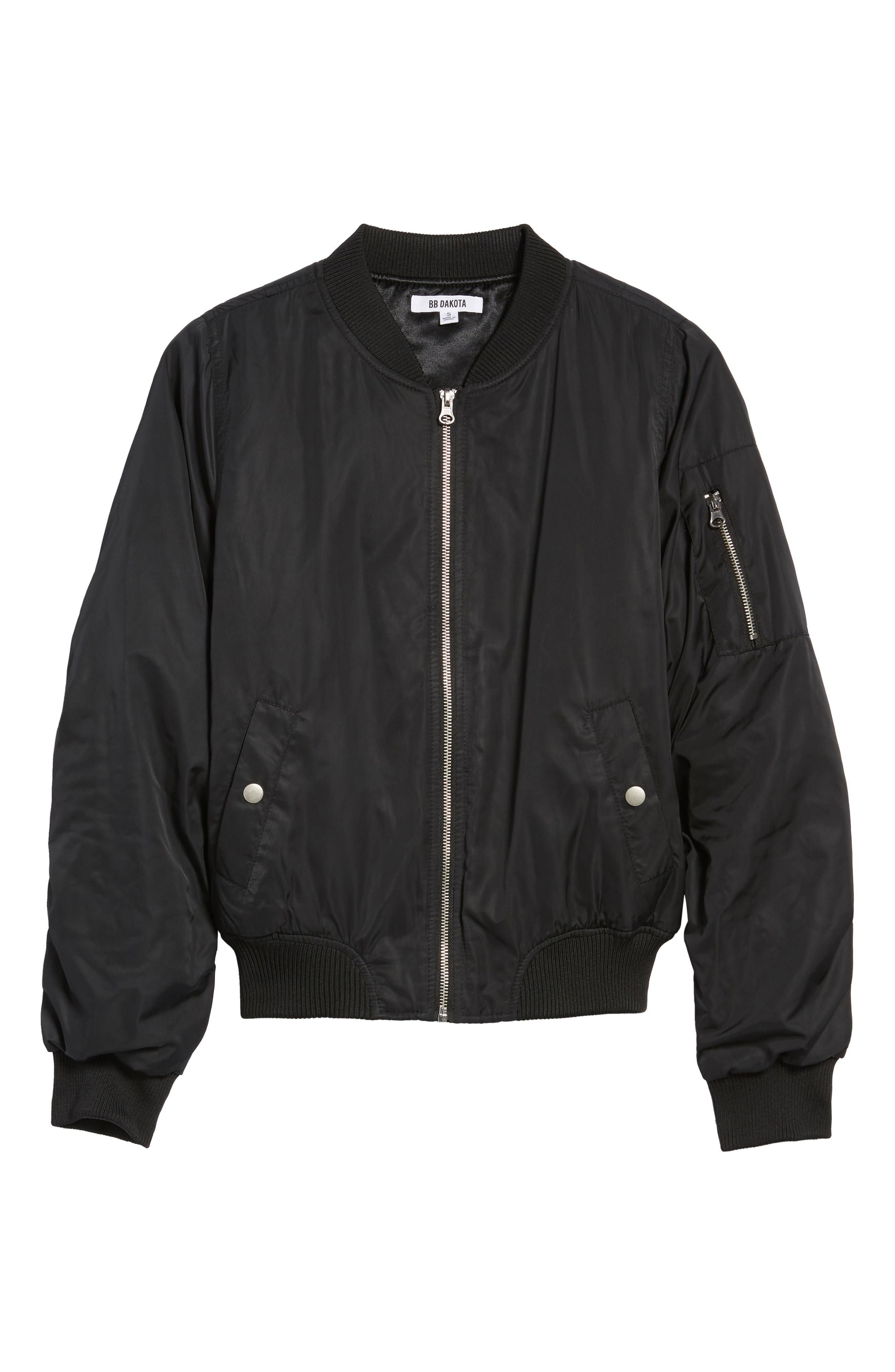 Graham Satin Bomber Jacket,                             Alternate thumbnail 6, color,                             Black