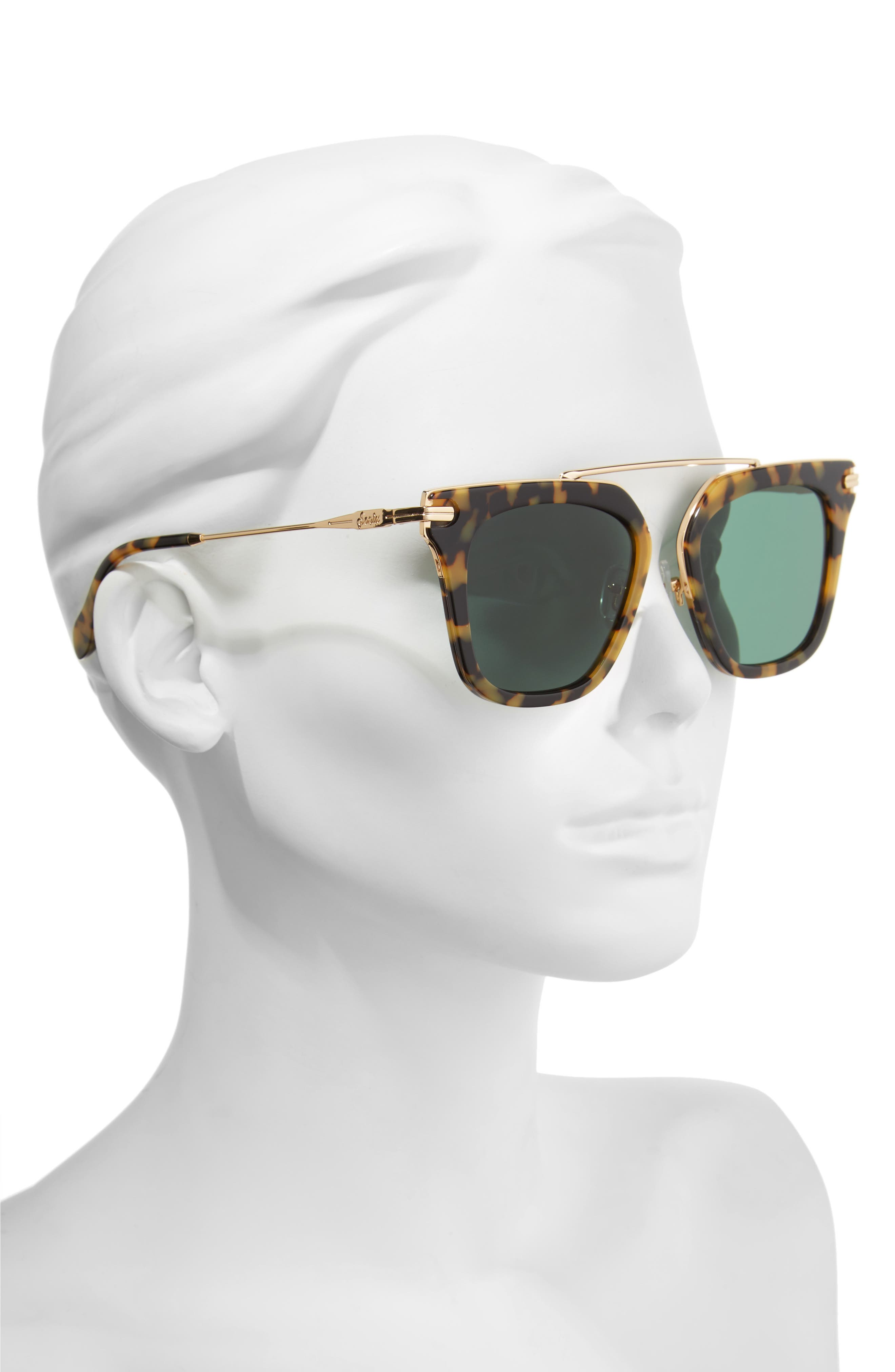 Parker 50mm Sunglasses,                             Alternate thumbnail 2, color,                             Caramel Tortoise/ Green Solid