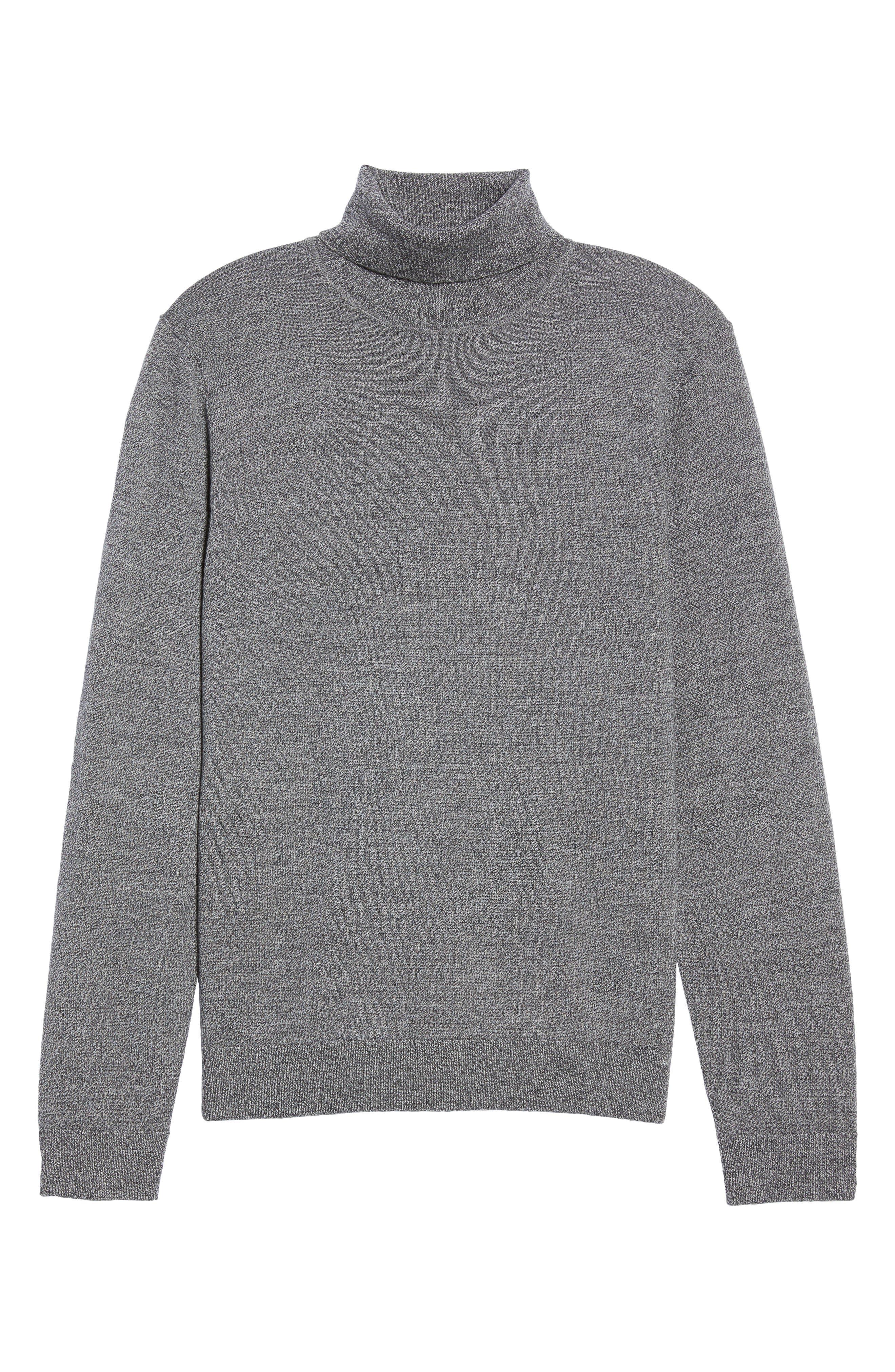 Merino Wool Turtleneck Sweater,                             Alternate thumbnail 6, color,                             Grey Shade Marl