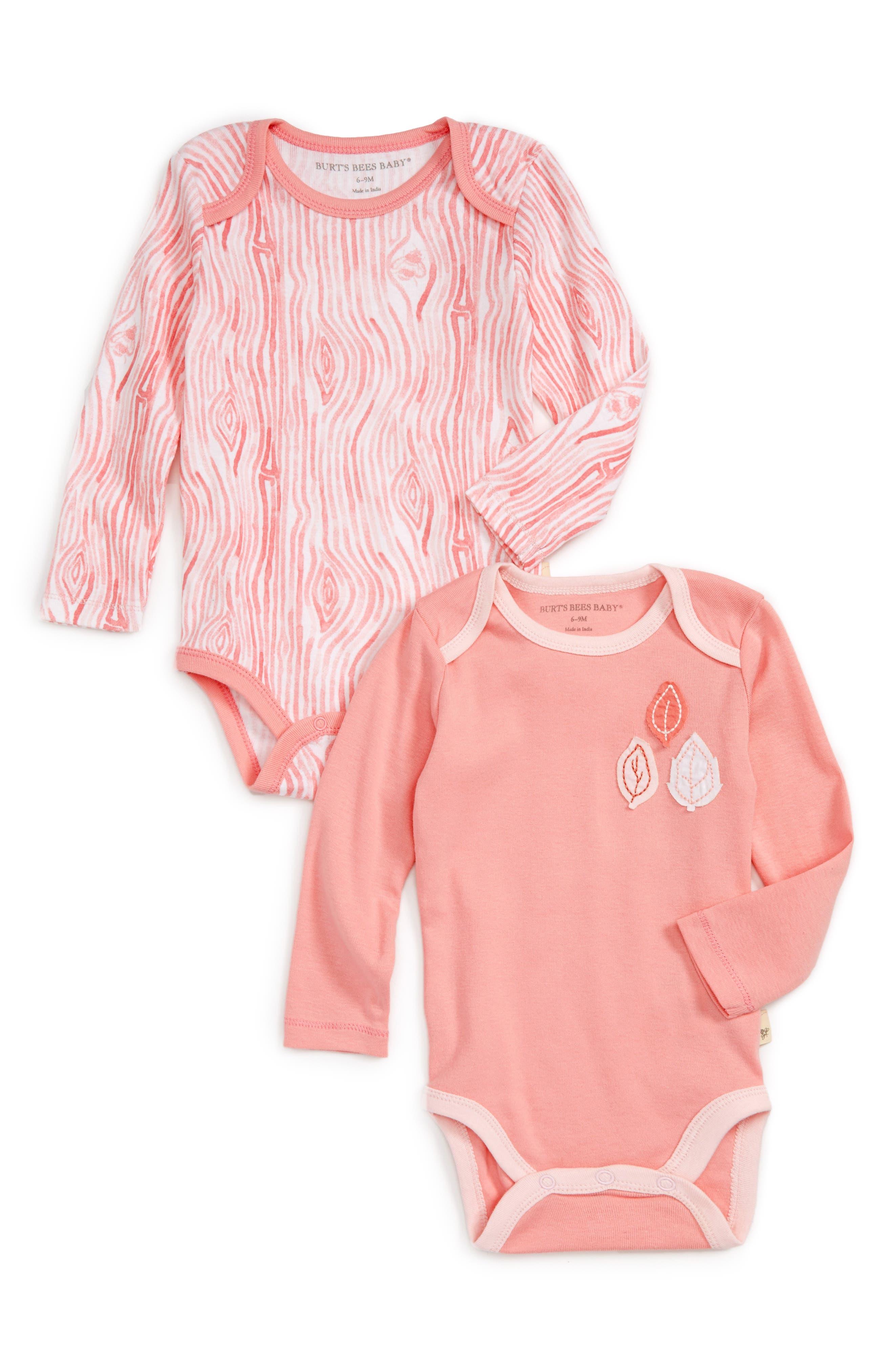 Main Image - Burt's Bees Baby Woodgrain 2-Pack Organic Cotton Bodysuits (Baby Girls)