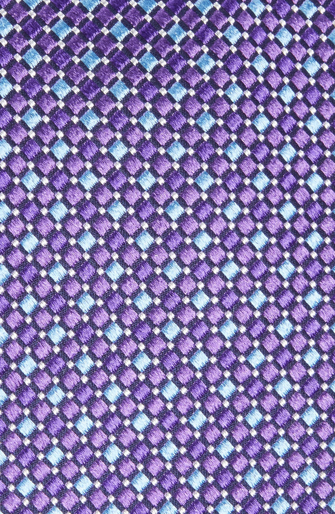 Geo Pattern Silk Tie,                             Alternate thumbnail 2, color,                             Purple