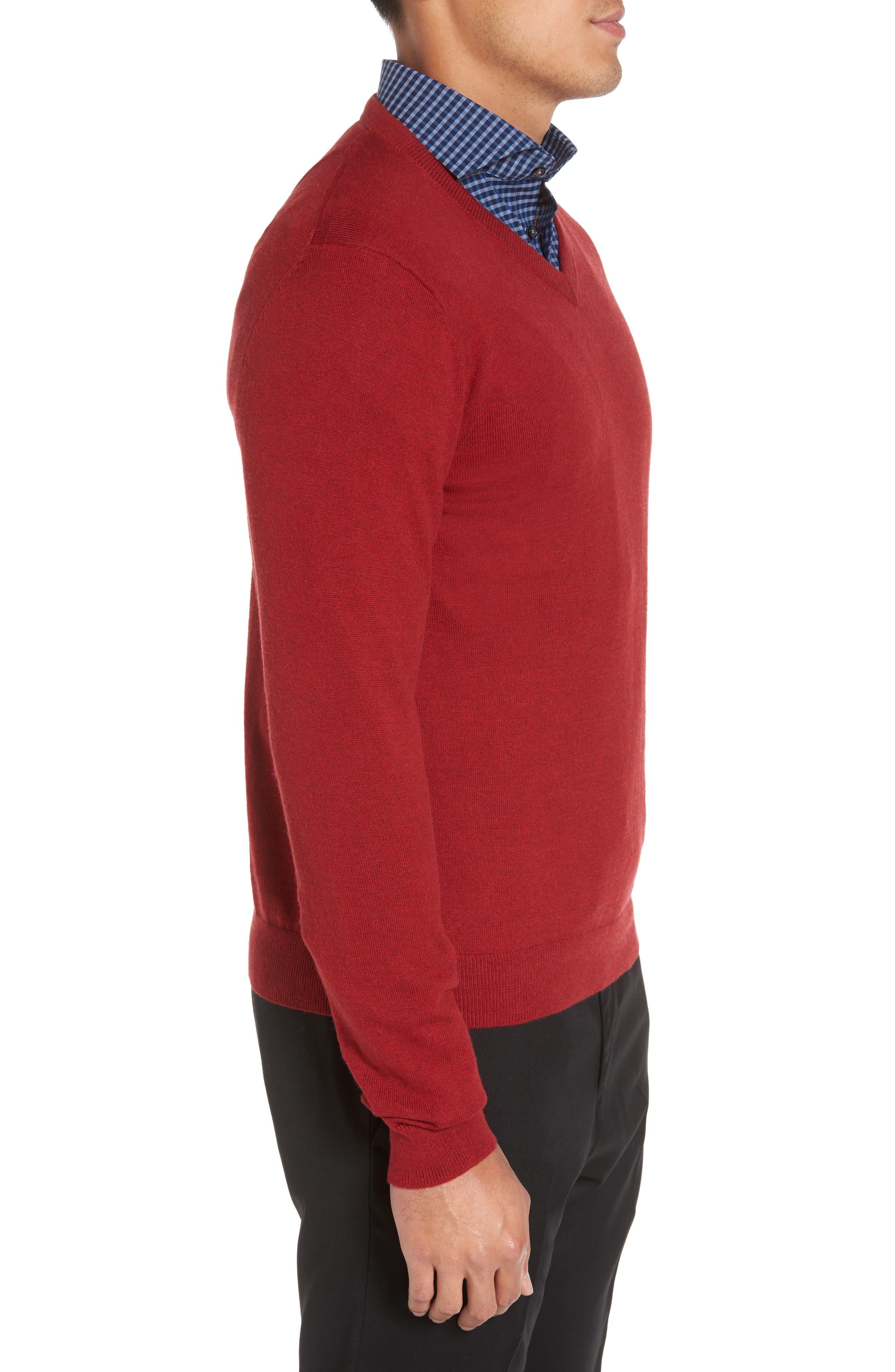 Alternate Image 3  - Nordstrom Men's Shop Cotton & Cashmere V-Neck Sweater (Regular & Tall)