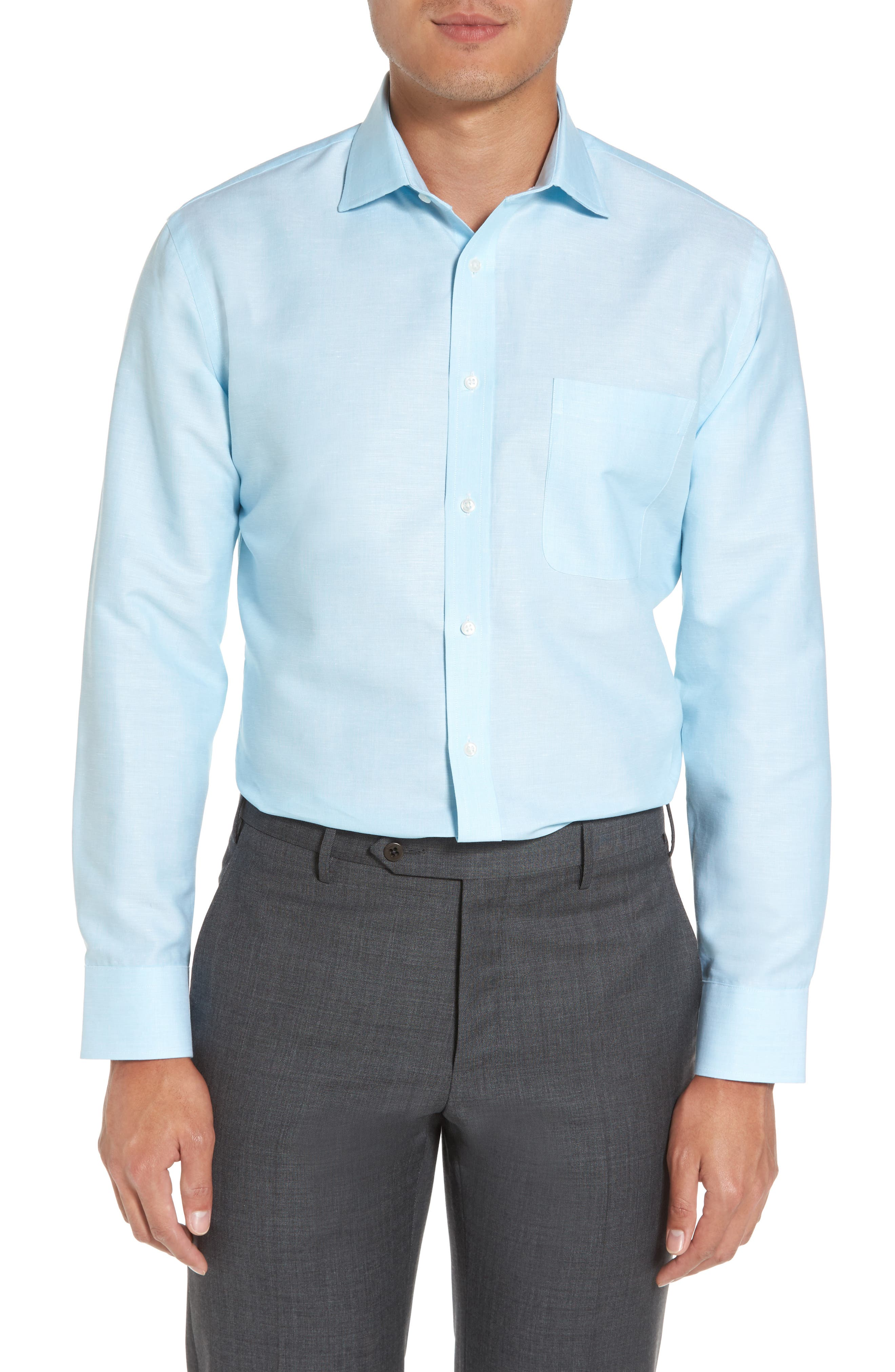 Alternate Image 2  - Nordstrom Men's Shop Trim Fit Solid Linen & Cotton Dress Shirt