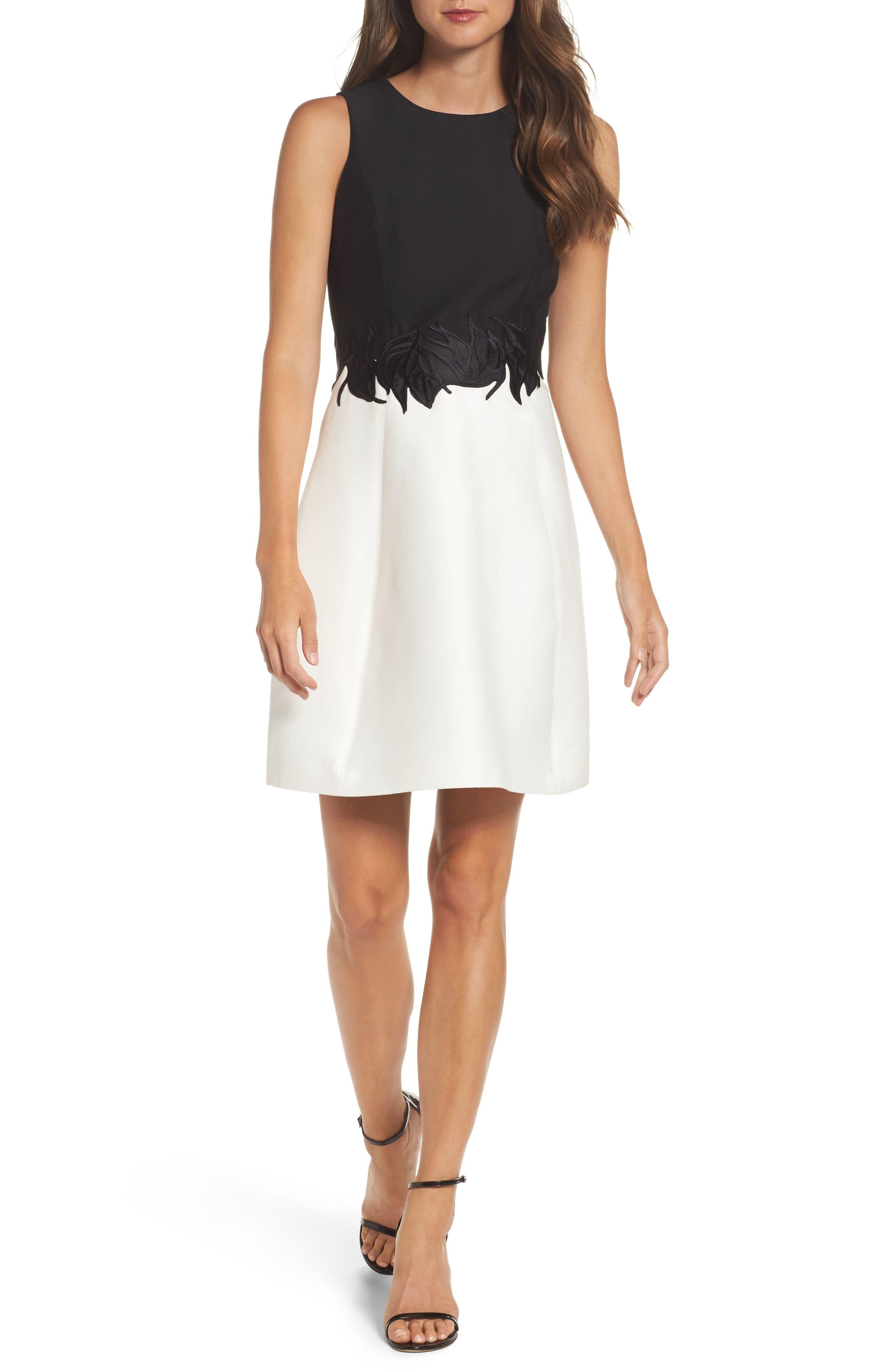Halston Heritage Color Block Fit & Flare Dress