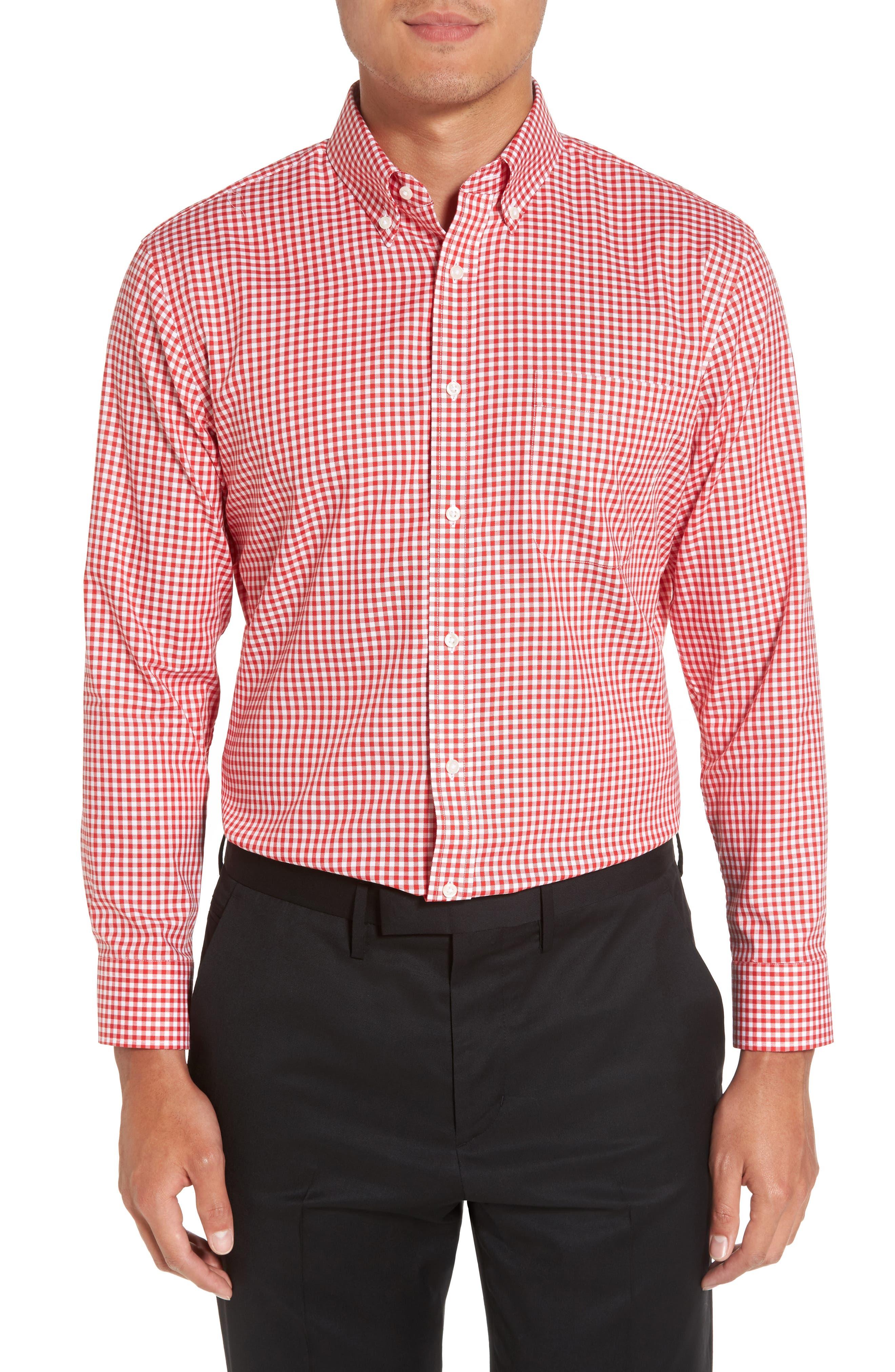 Trim Fit Non-Iron Gingham Dress Shirt,                             Main thumbnail 1, color,                             Red Blaze