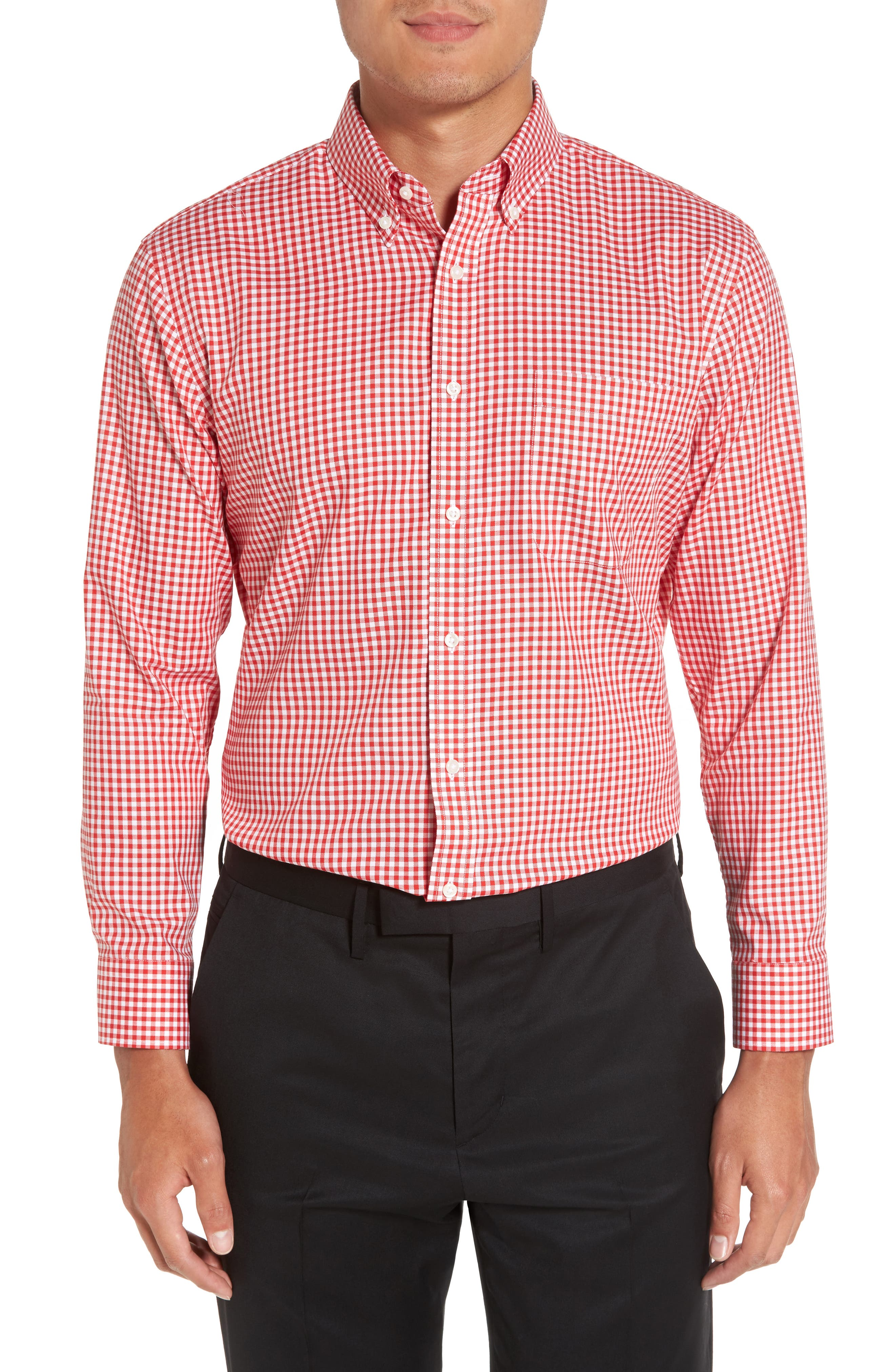 Trim Fit Non-Iron Gingham Dress Shirt,                         Main,                         color, Red Blaze