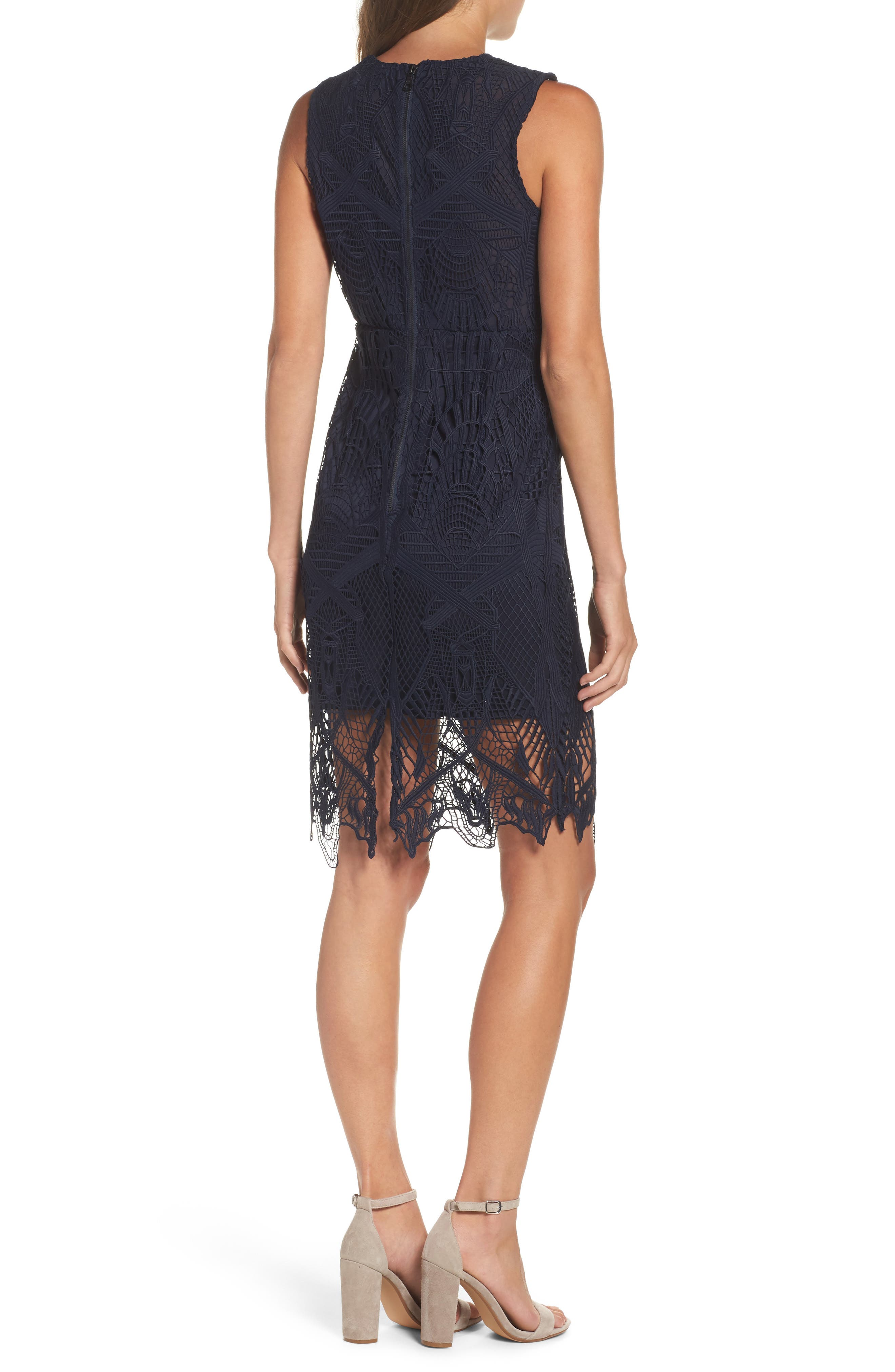 Illusion Lace Sheath Dress,                             Alternate thumbnail 2, color,                             French Navy