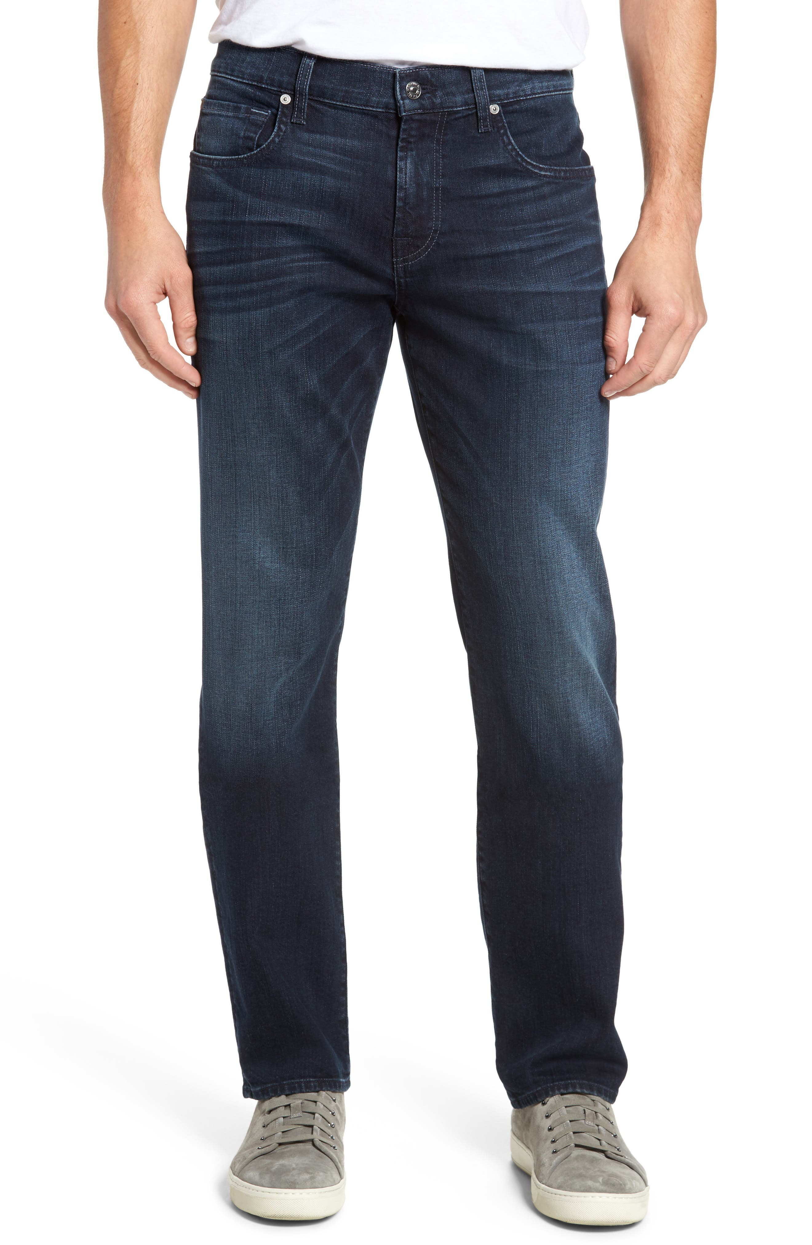 Main Image - 7 For All Mankind® The Straight Slim Straight Leg Jeans (Dark Current)