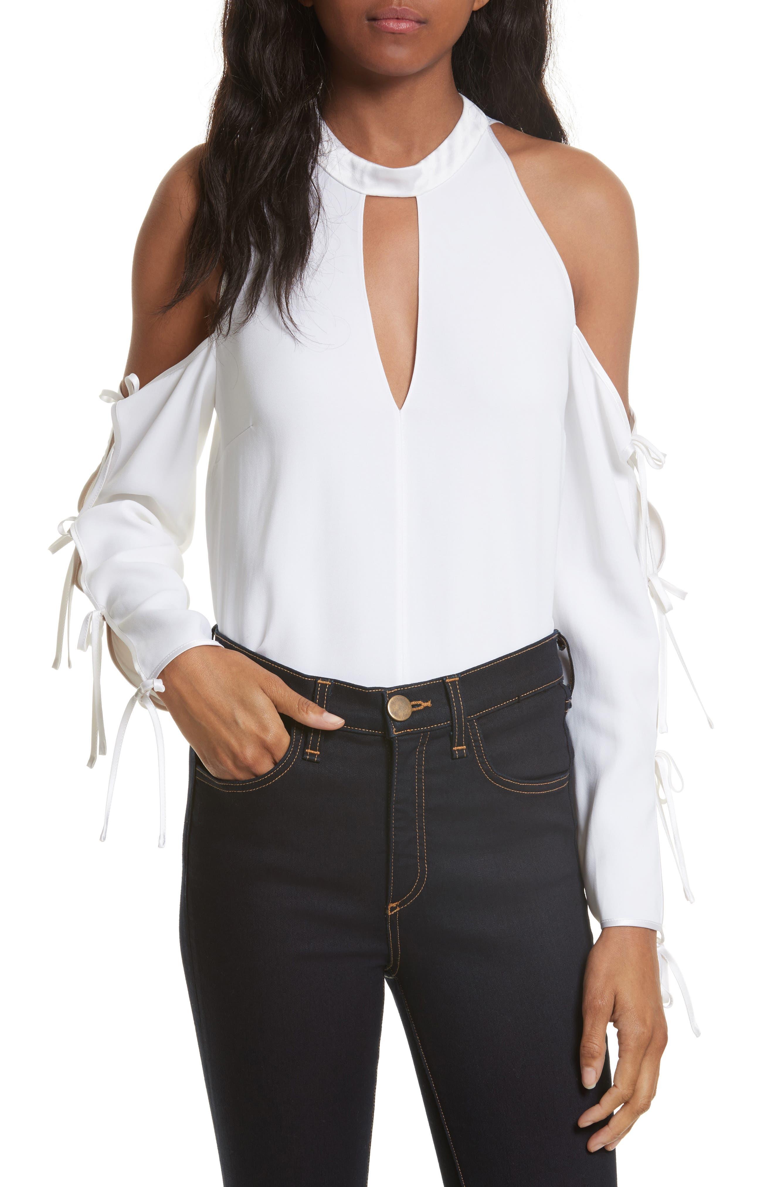 Lachland Cold Shoulder Top,                         Main,                         color, White