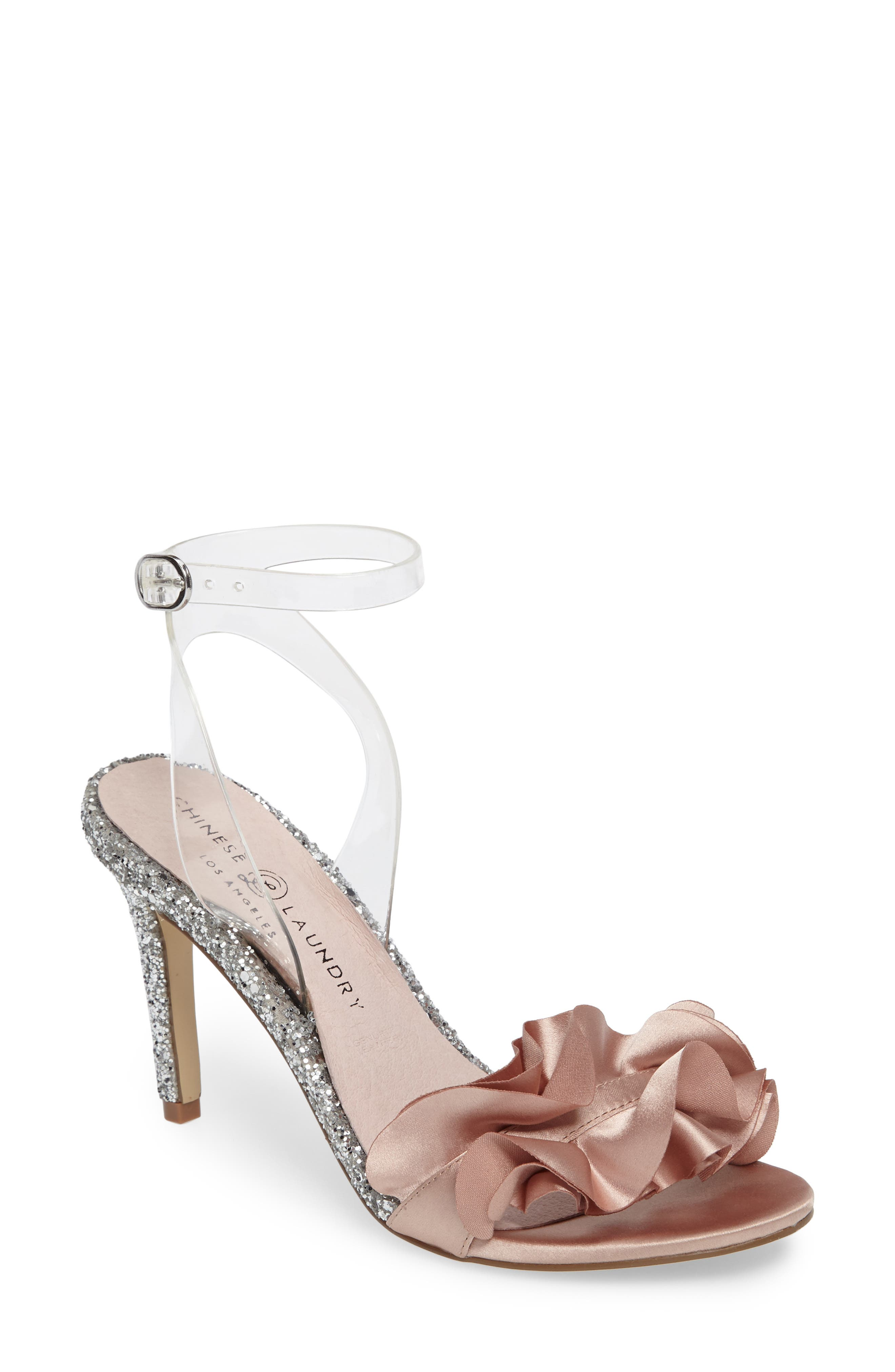Janey Ruffled Sandal,                         Main,                         color, Nude/ Clear