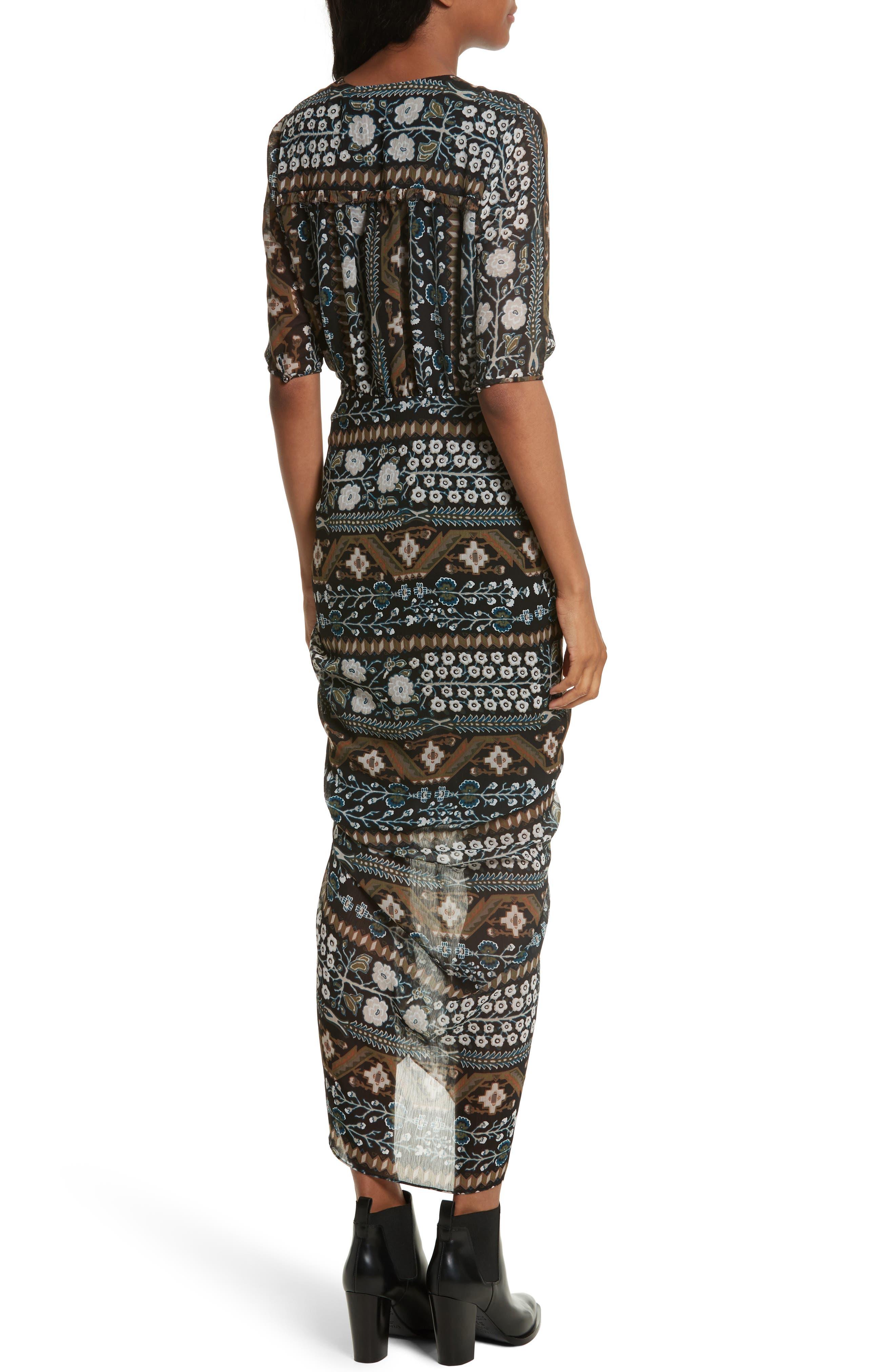 Perla Ruched Midi Dress,                             Alternate thumbnail 2, color,                             Army/ Black Multi